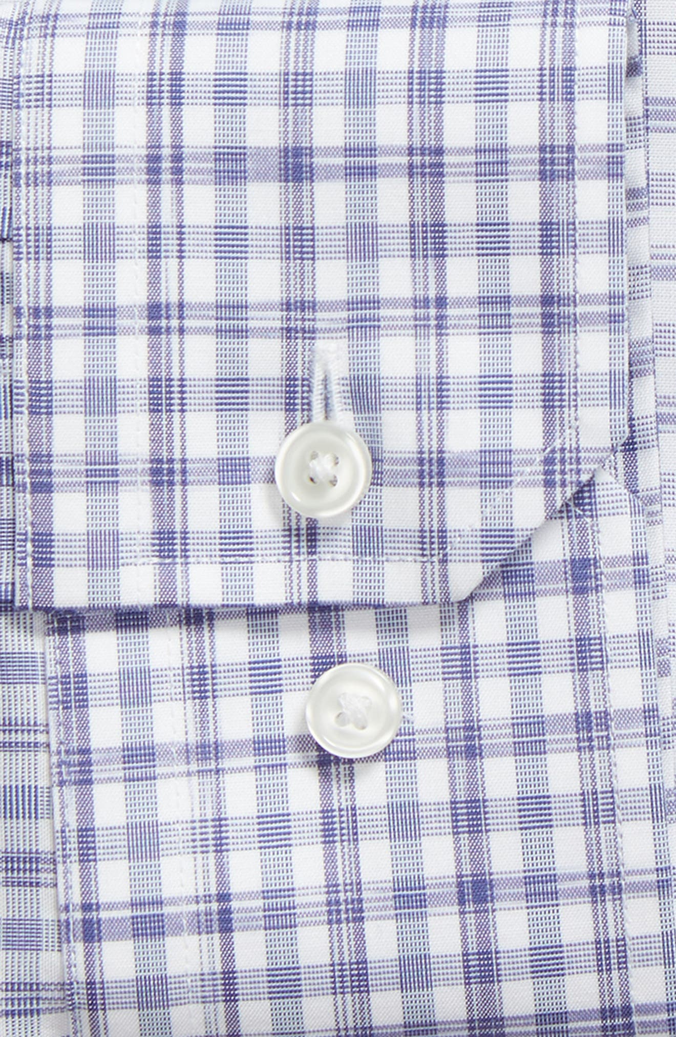 Trim Fit Non-Iron Plaid Dress Shirt,                             Alternate thumbnail 6, color,                             BLUE MARINE