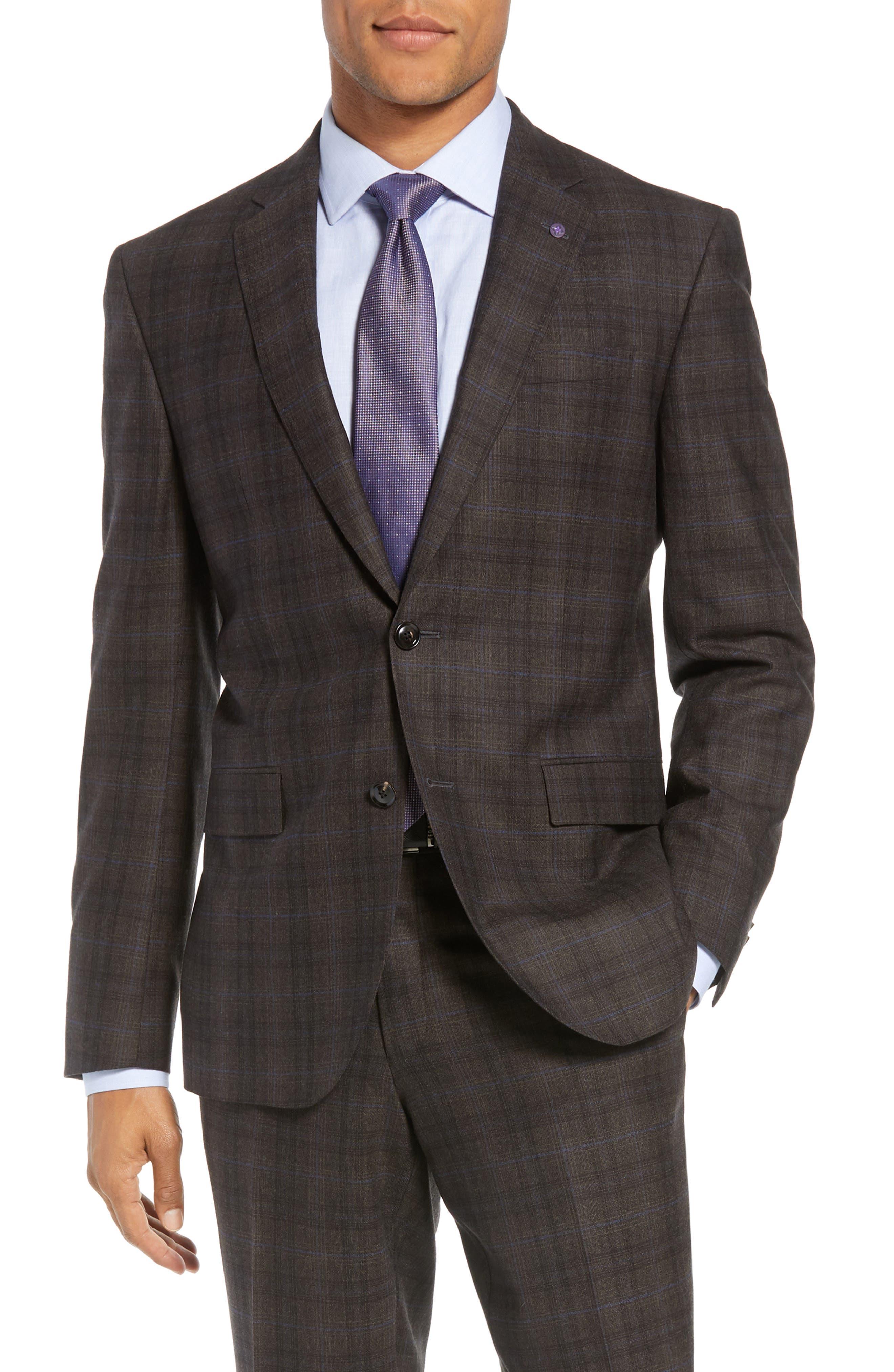 Jay Trim Fit Plaid Wool Suit,                             Alternate thumbnail 5, color,                             BROWN PLAID