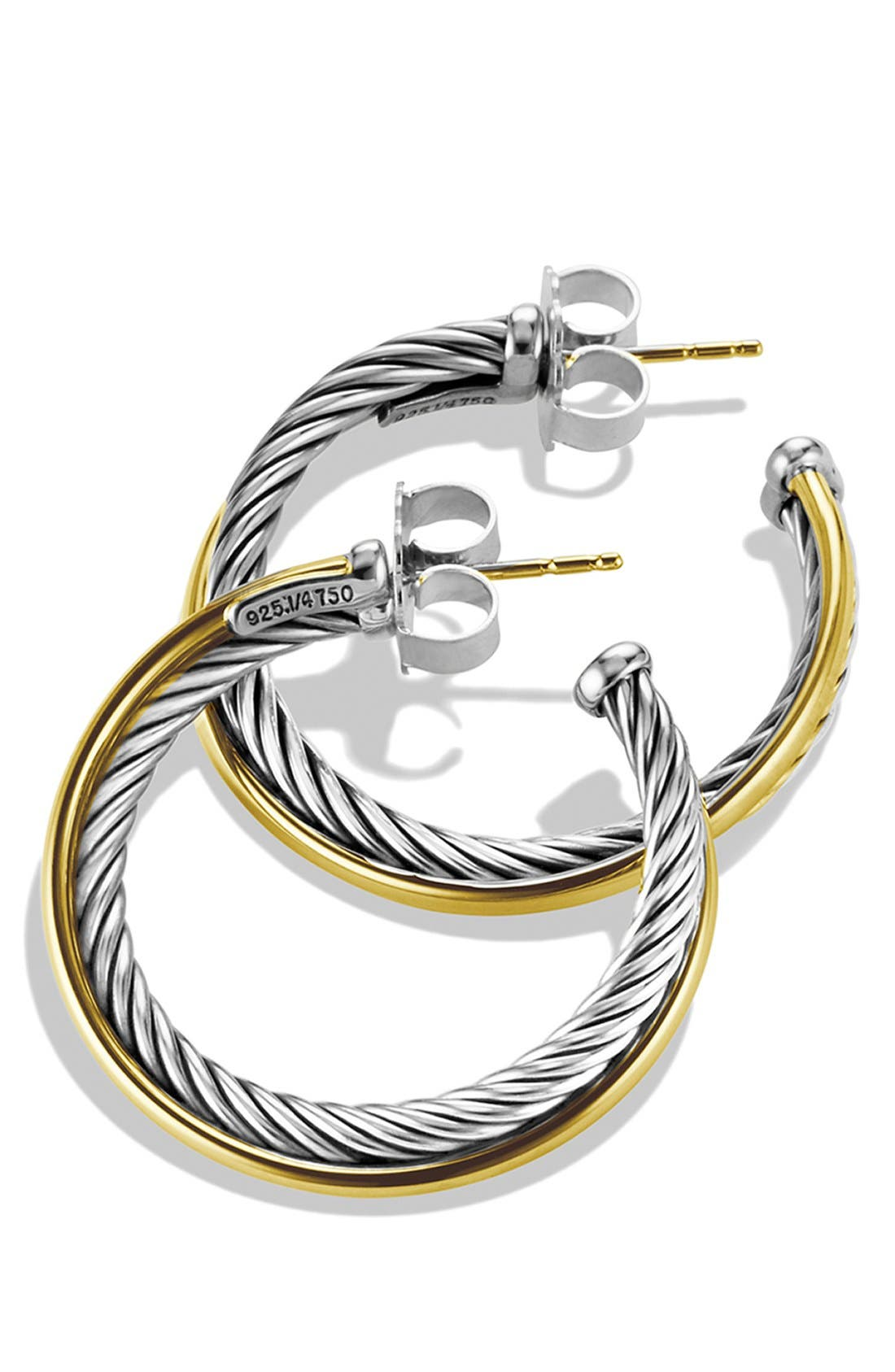 'Crossover' Medium Hoop Earrings with Gold,                             Alternate thumbnail 2, color,                             TWO TONE