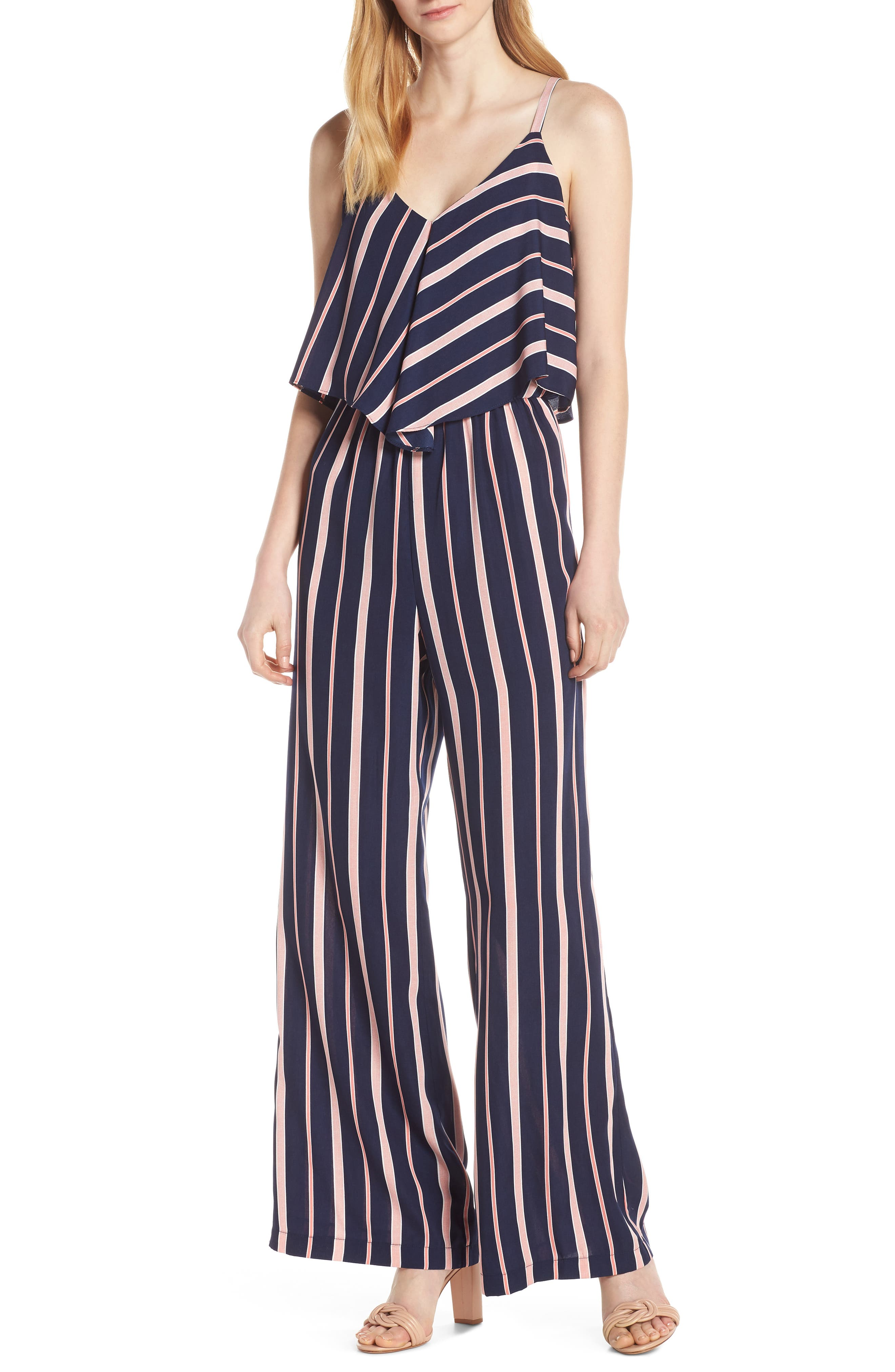 70s Jumpsuit | Disco Jumpsuits – Sequin, Striped, Gold, White, Black Womens Charles Henry Stripe Popover Jumpsuit Size X-Small - Blue $88.00 AT vintagedancer.com