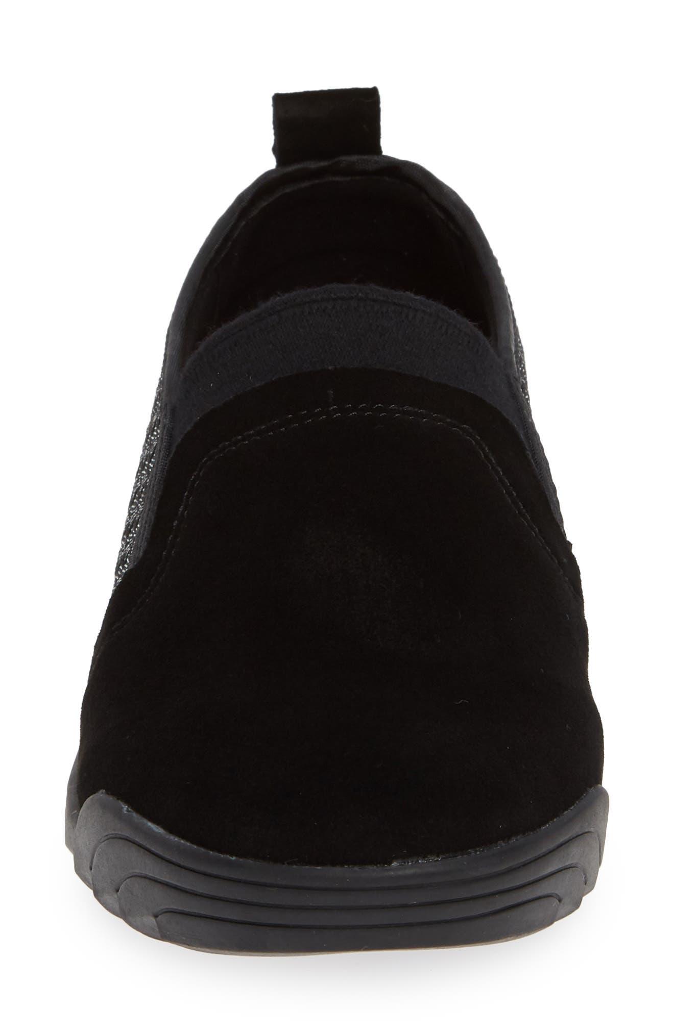 Swift Slip-On Sneaker,                             Alternate thumbnail 4, color,                             BLACK SHIMMER LEATHER
