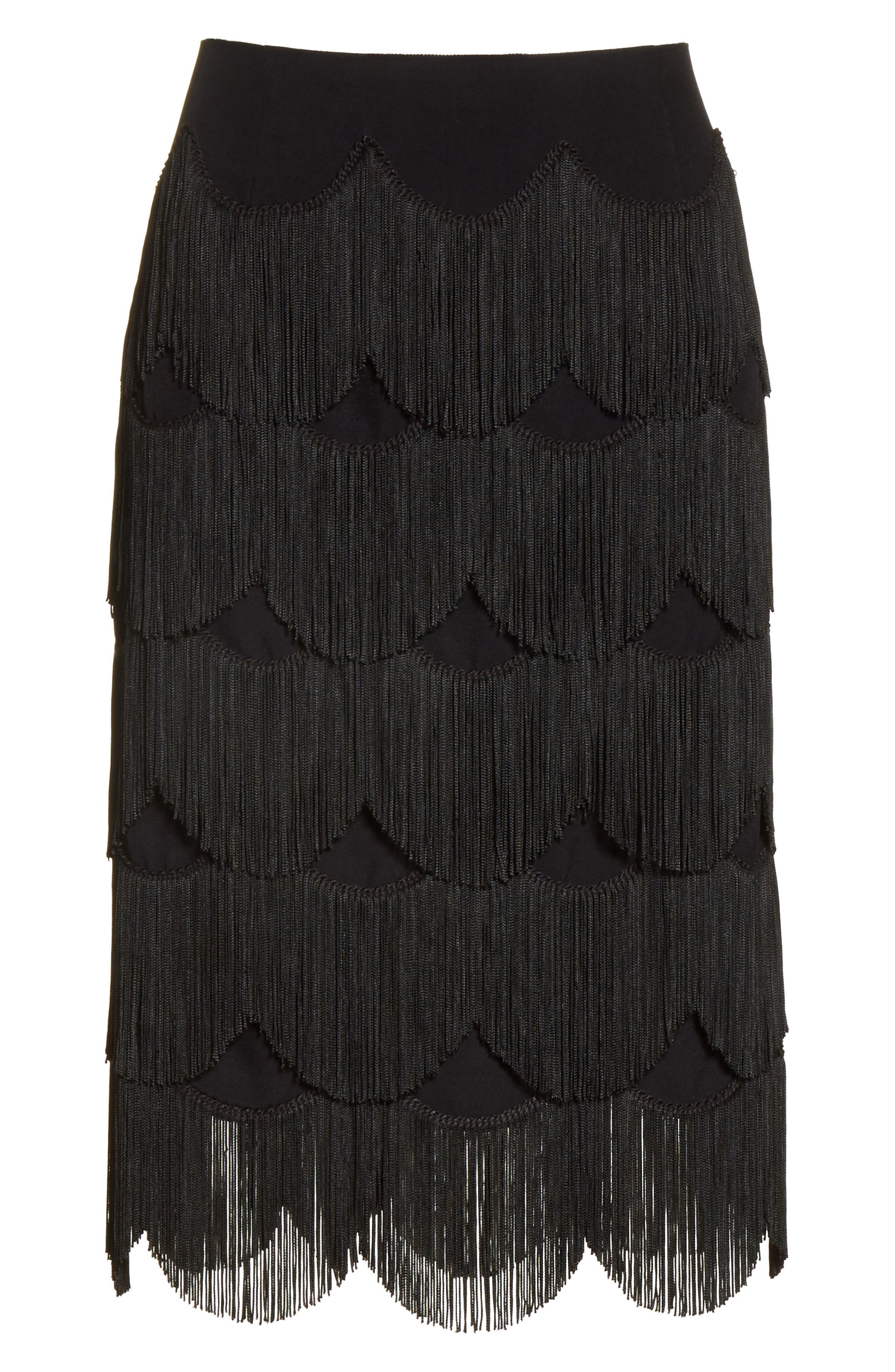 Fringe Skirt,                             Alternate thumbnail 6, color,                             001