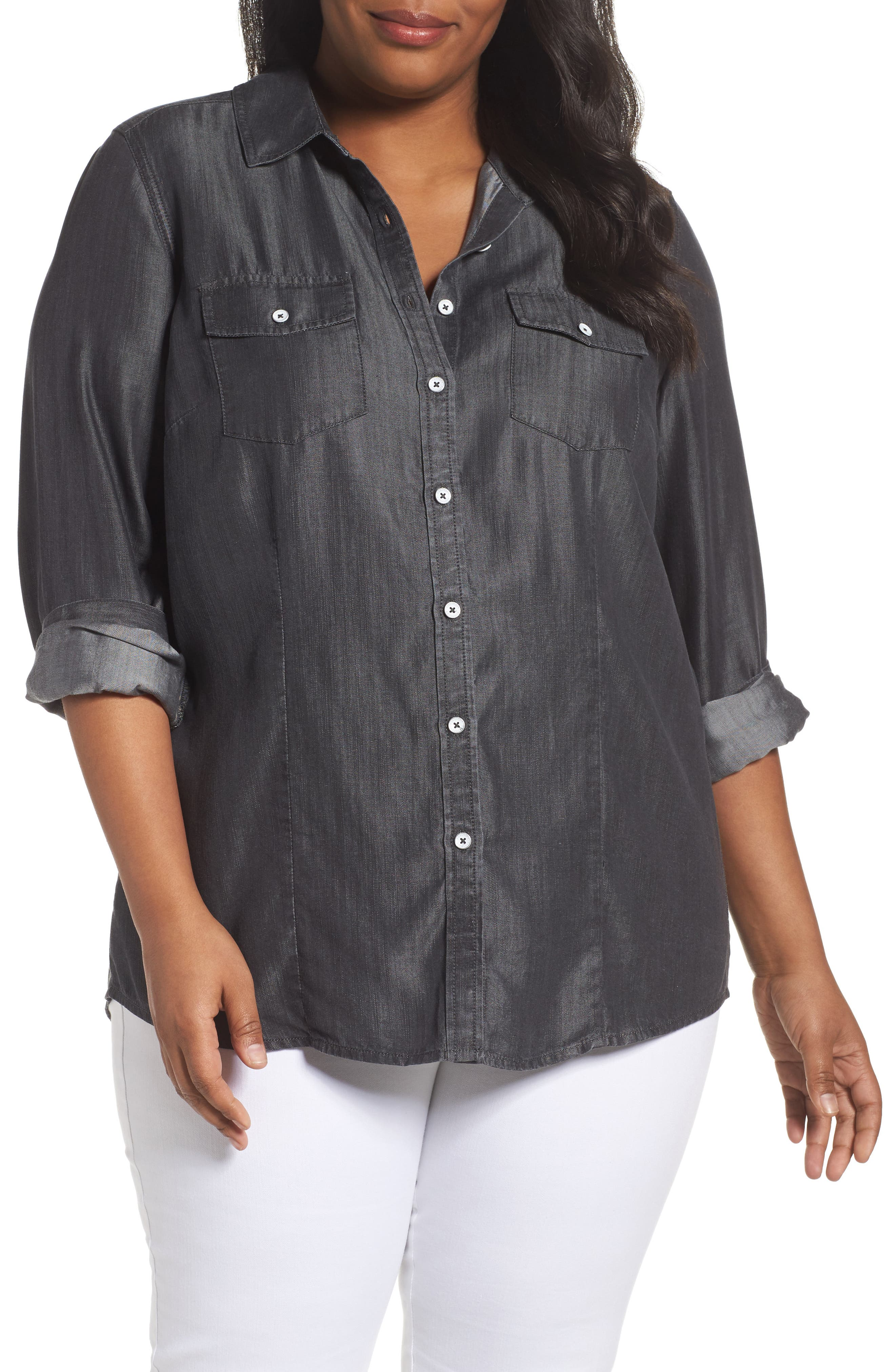 Dylan Woven Tencel<sup>®</sup> Shirt,                         Main,                         color, CHARCOAL