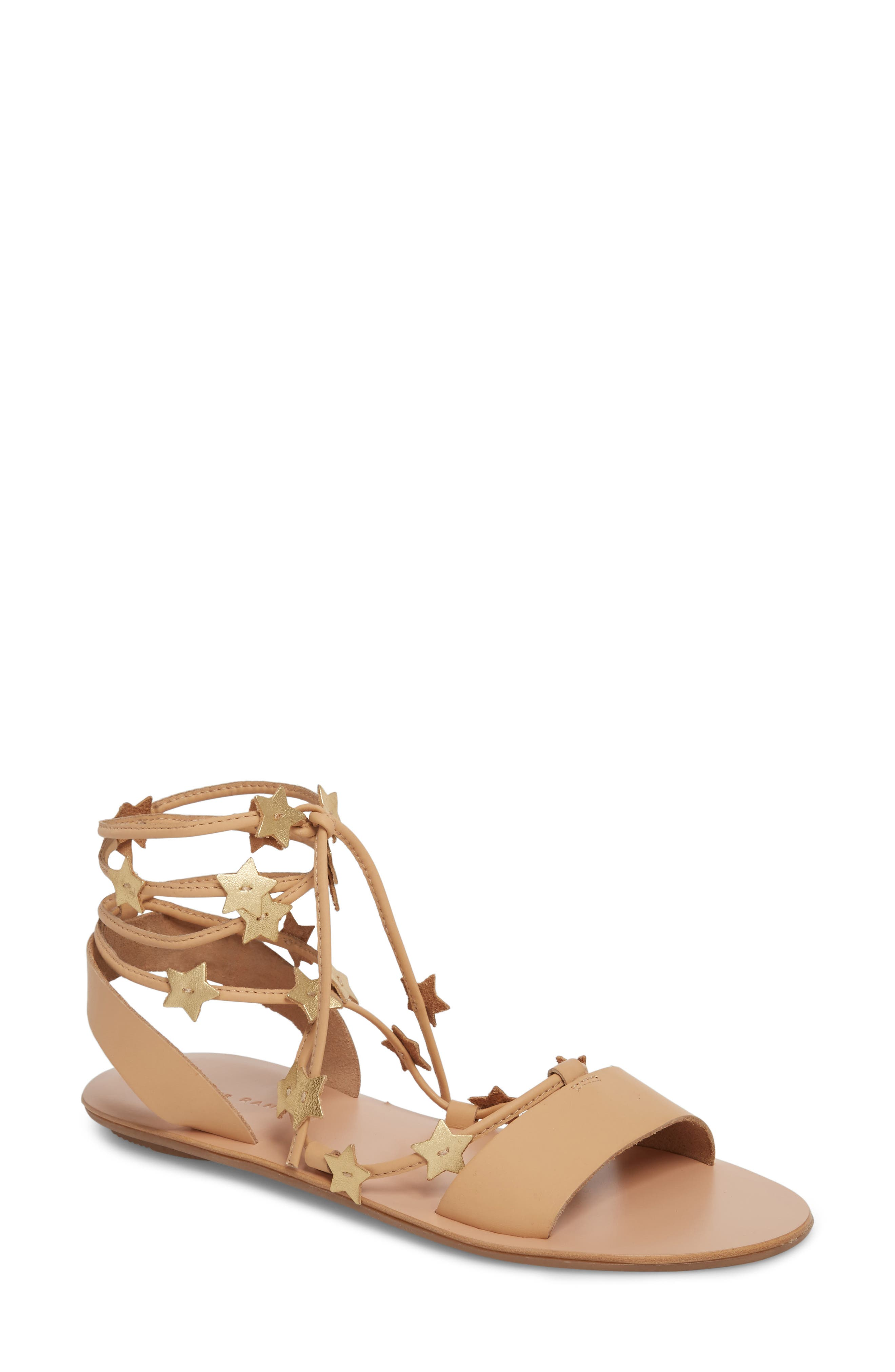 Starla Ankle Wrap Sandal,                             Main thumbnail 1, color,                             WHEAT