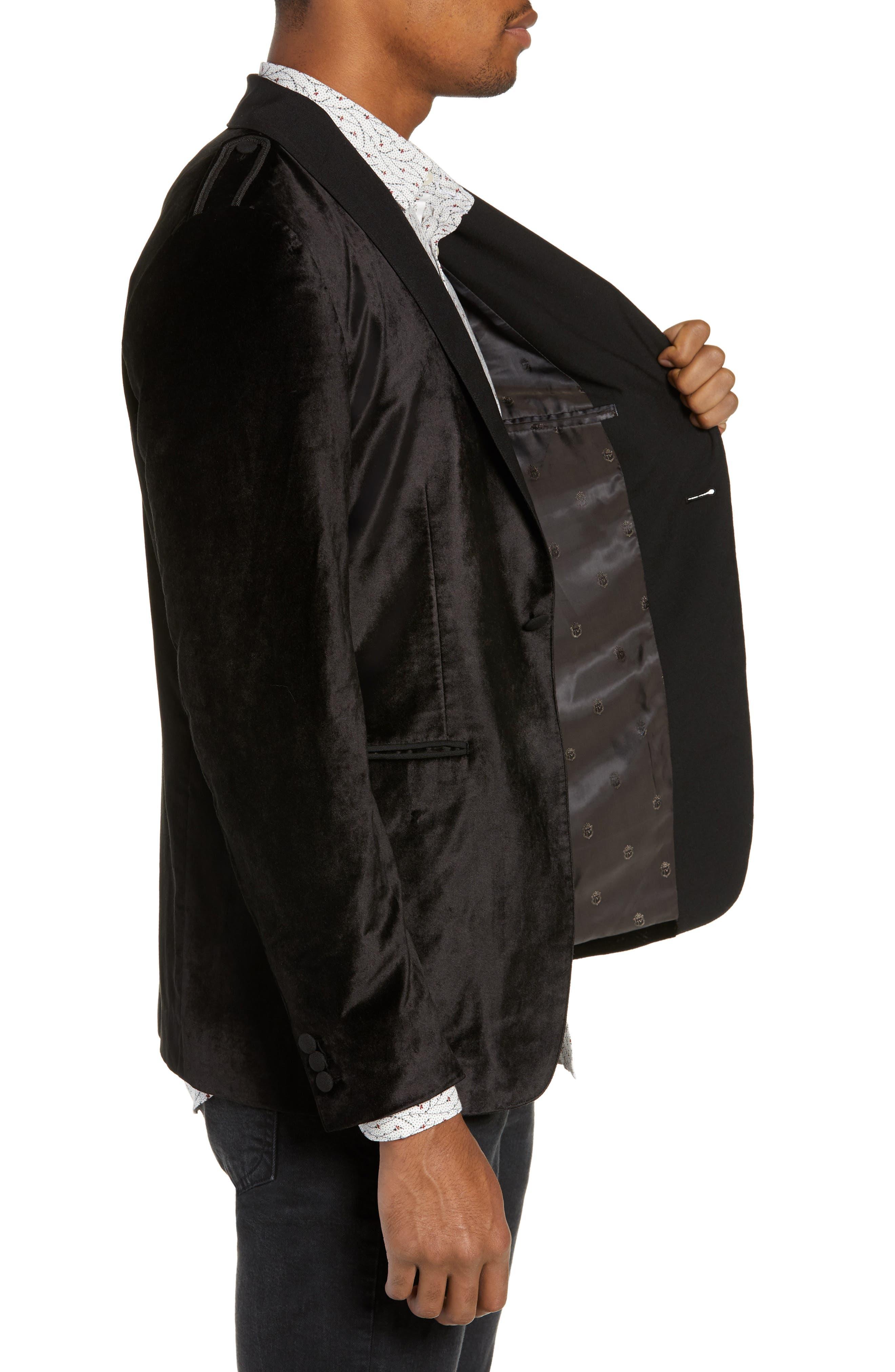 Shawl Collar Velvet Jacket,                             Alternate thumbnail 3, color,                             BLACK