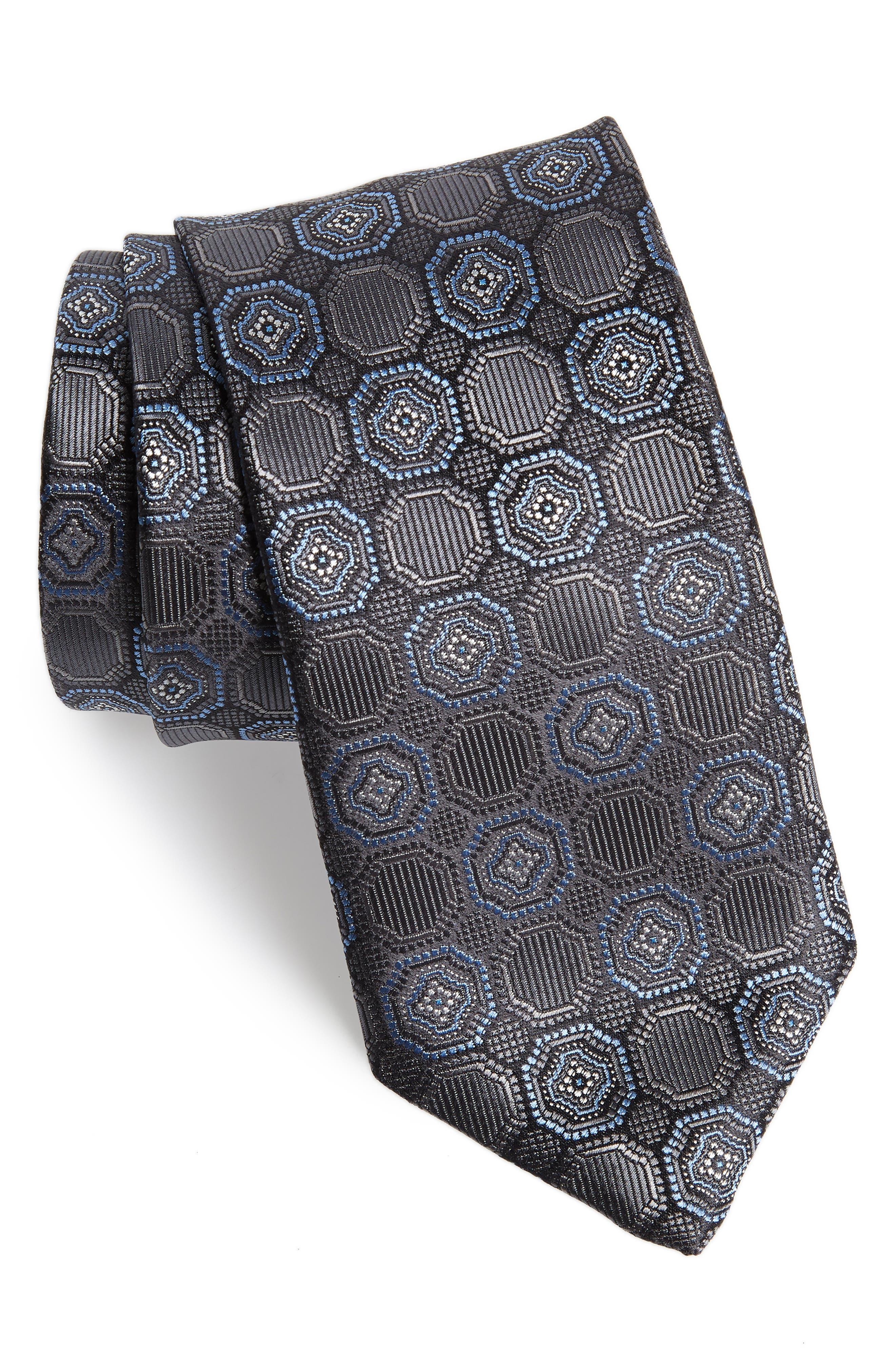Medallion Silk Tie,                         Main,                         color, CHARCOAL