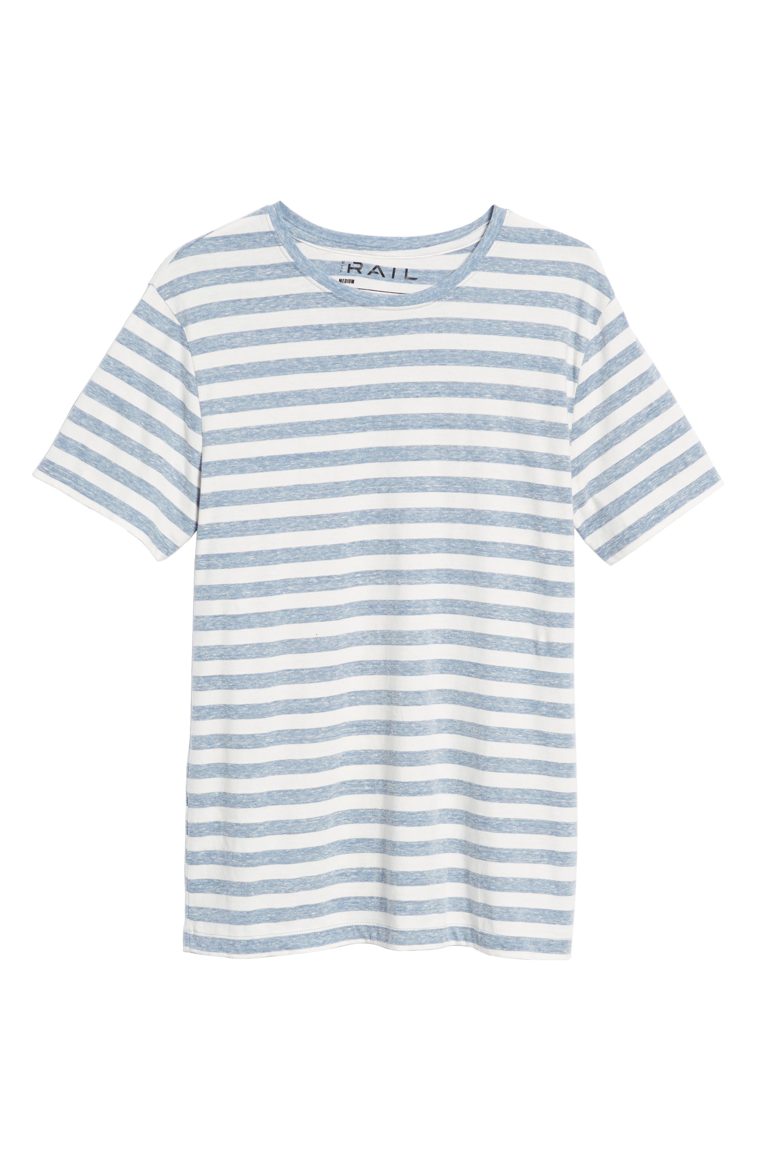 Stripe Crewneck T-Shirt,                             Alternate thumbnail 6, color,                             BLUE CHAMBRAY- WHITE STRIPE