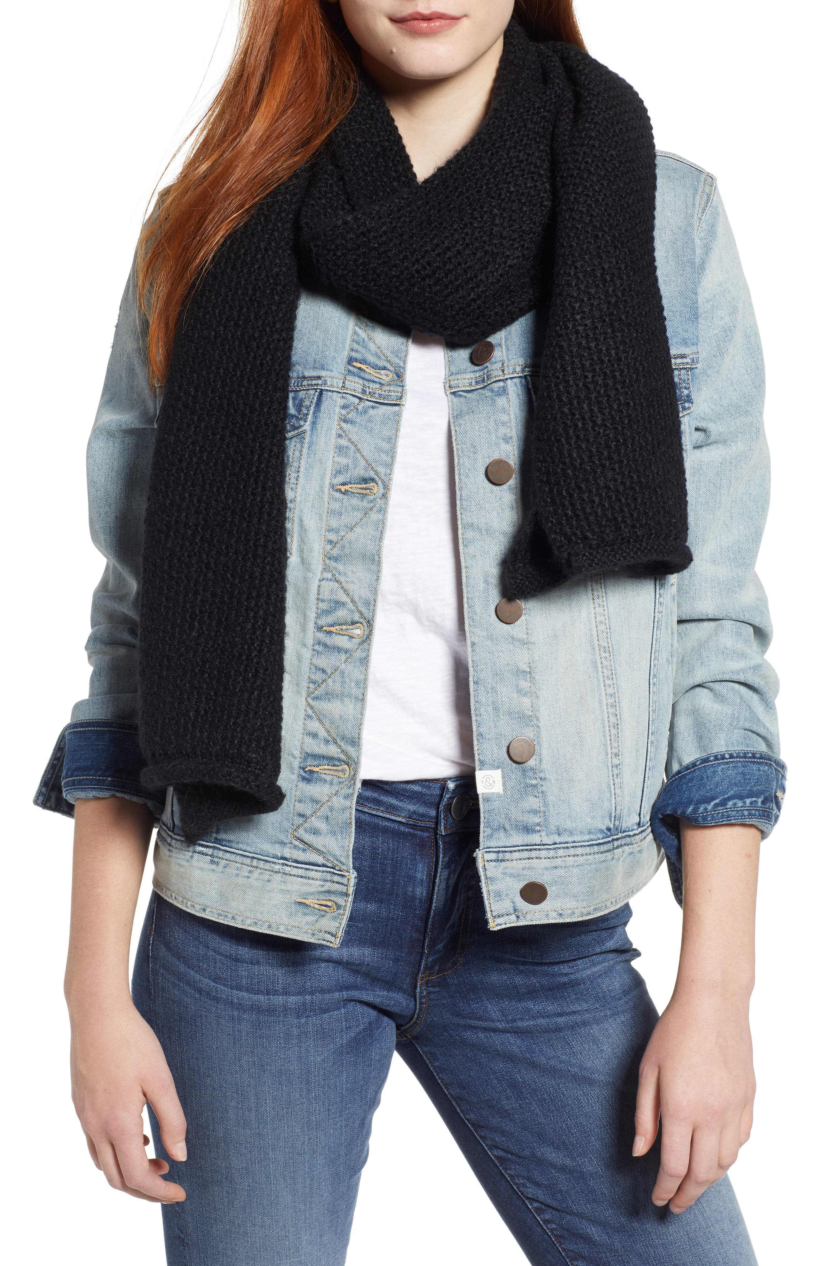 Solid Muffler Scarf,                         Main,                         color, BLACK