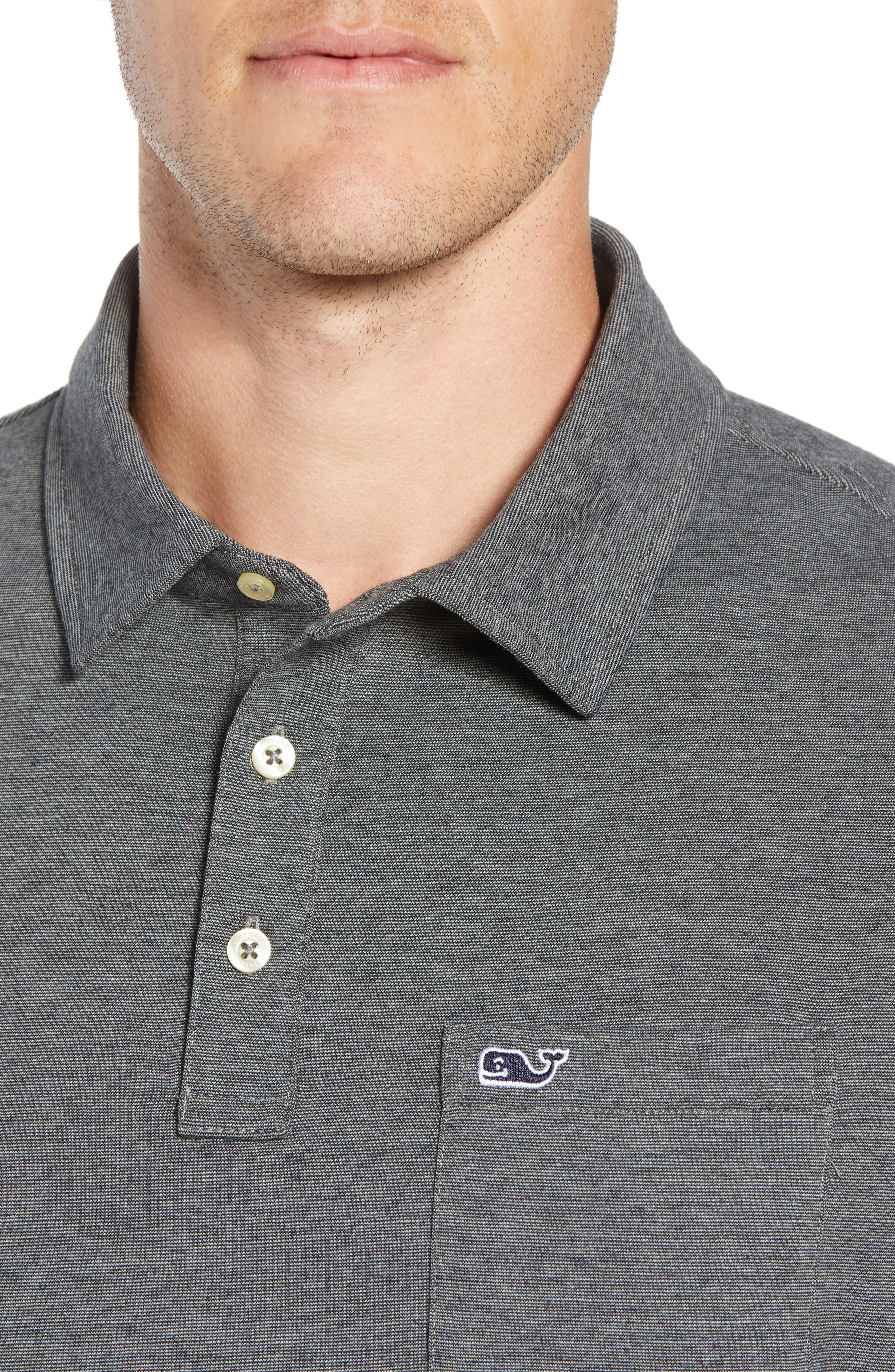 Edgartown Polo Shirt,                             Alternate thumbnail 4, color,                             CHARCOAL
