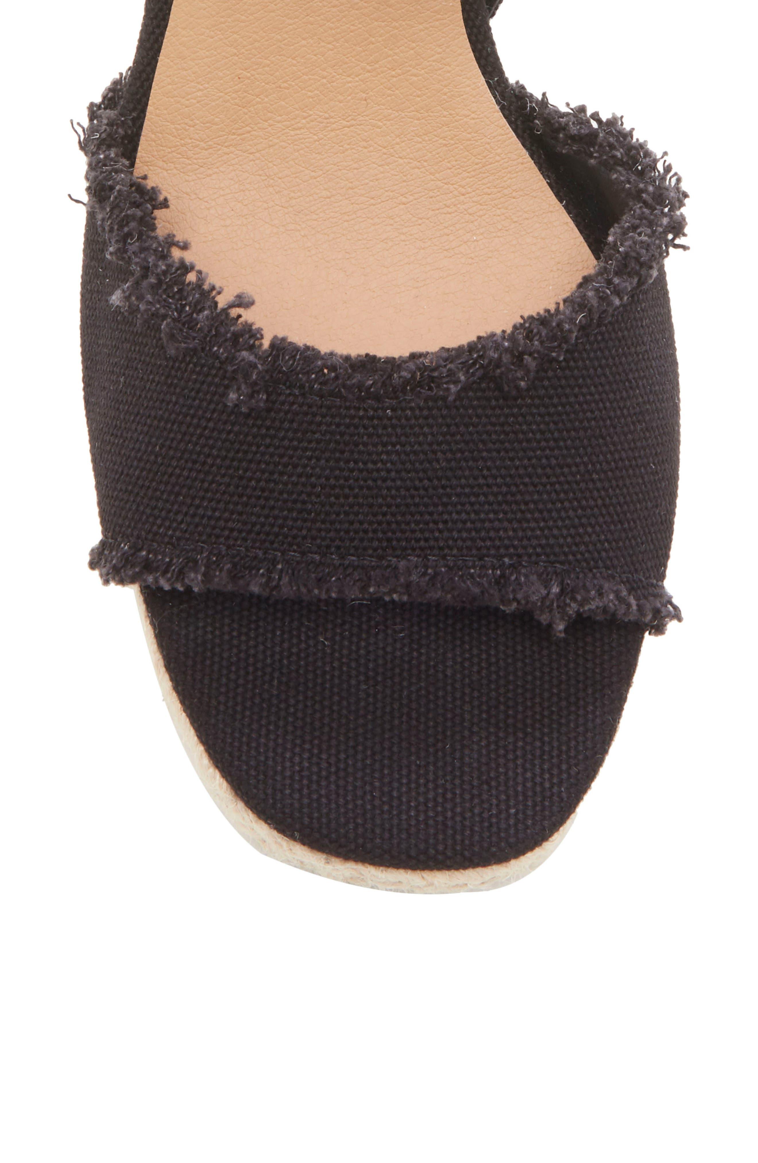 LUCKY BRAND,                             Mindra Espadrille Wedge Sandal,                             Alternate thumbnail 8, color,                             BLACK FABRIC
