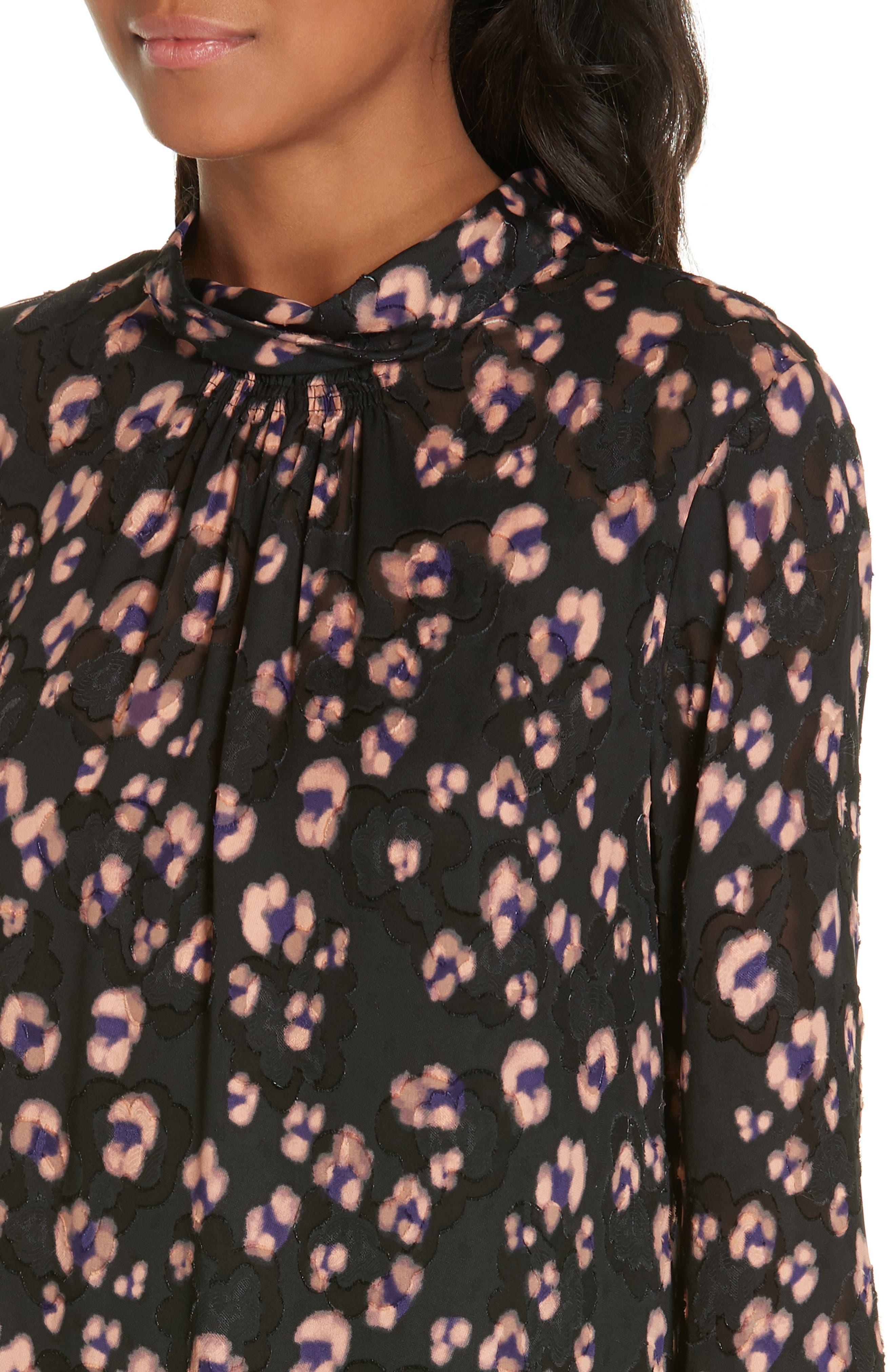 Cheetah Print Silk Dress,                             Alternate thumbnail 4, color,                             COPPER COMBO