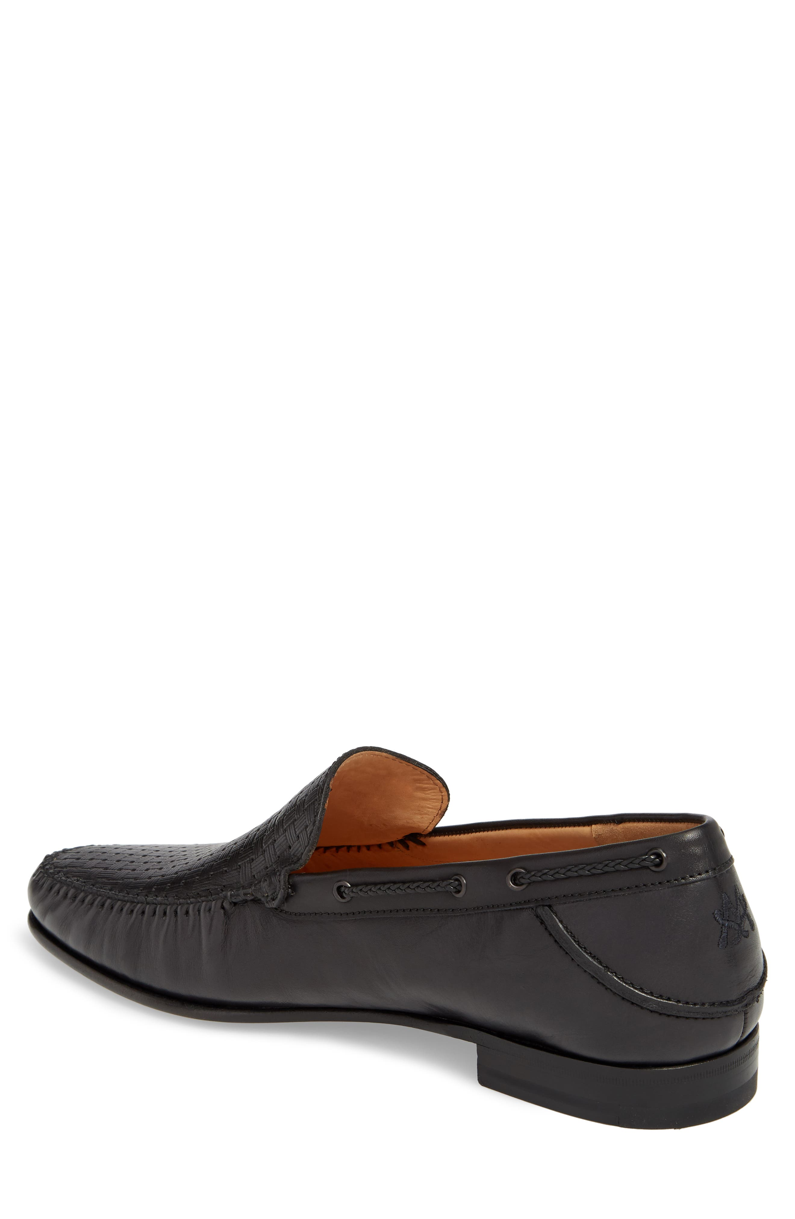 Jano Embossed Moc-Toe Loafer,                             Alternate thumbnail 2, color,                             BLACK LEATHER