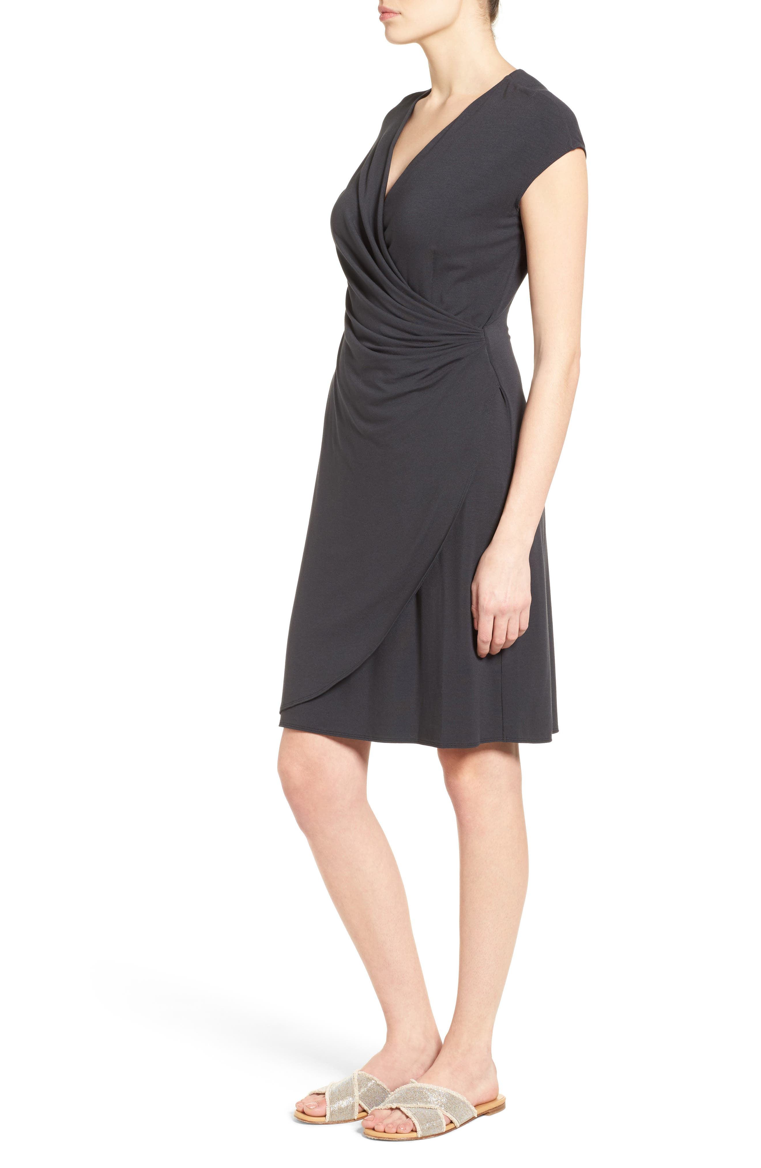 Tambour Side Gathered Jersey Dress,                             Alternate thumbnail 3, color,                             001