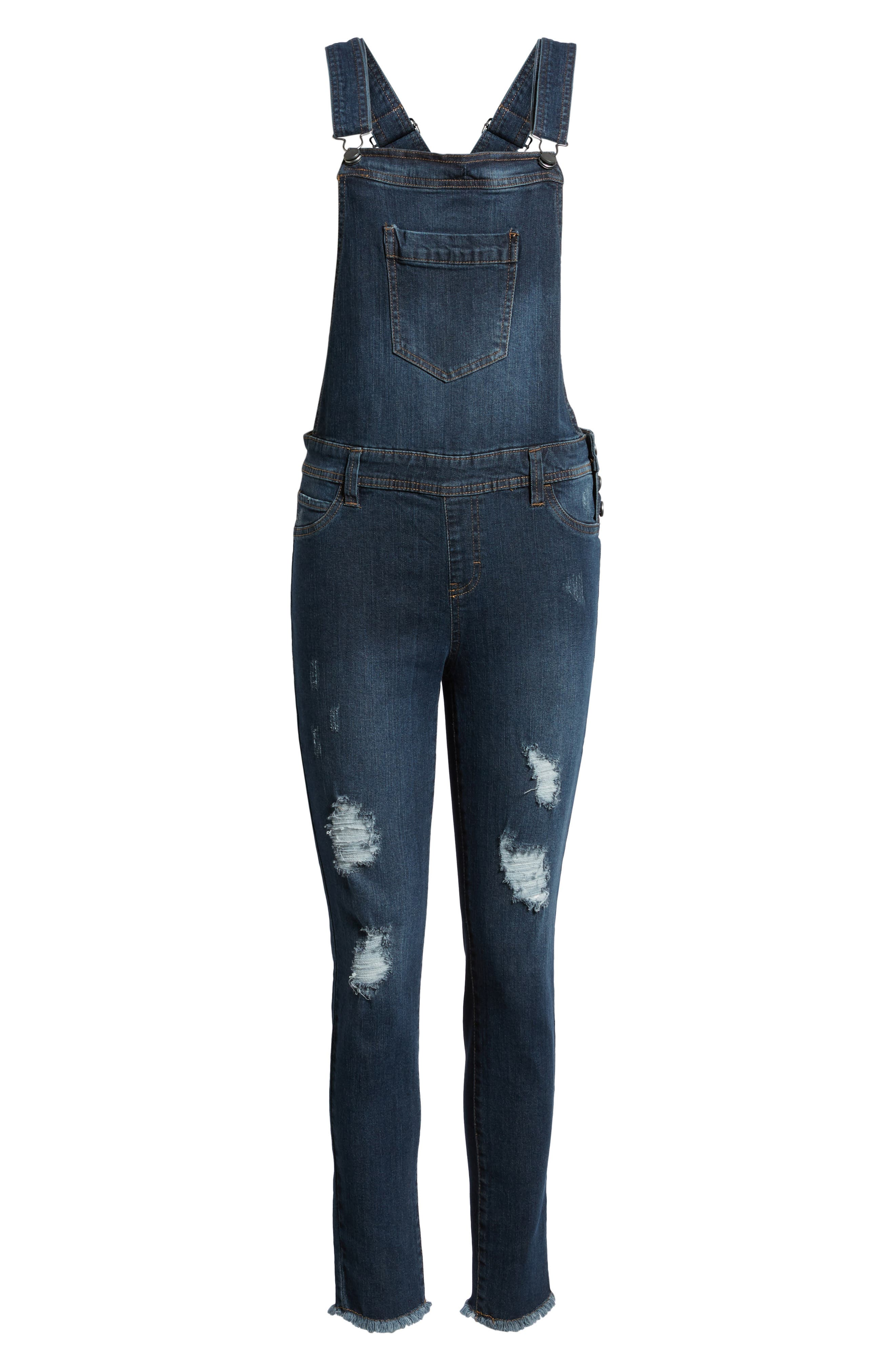 TINSEL,                             Ripped Skinny Overalls,                             Alternate thumbnail 7, color,                             400