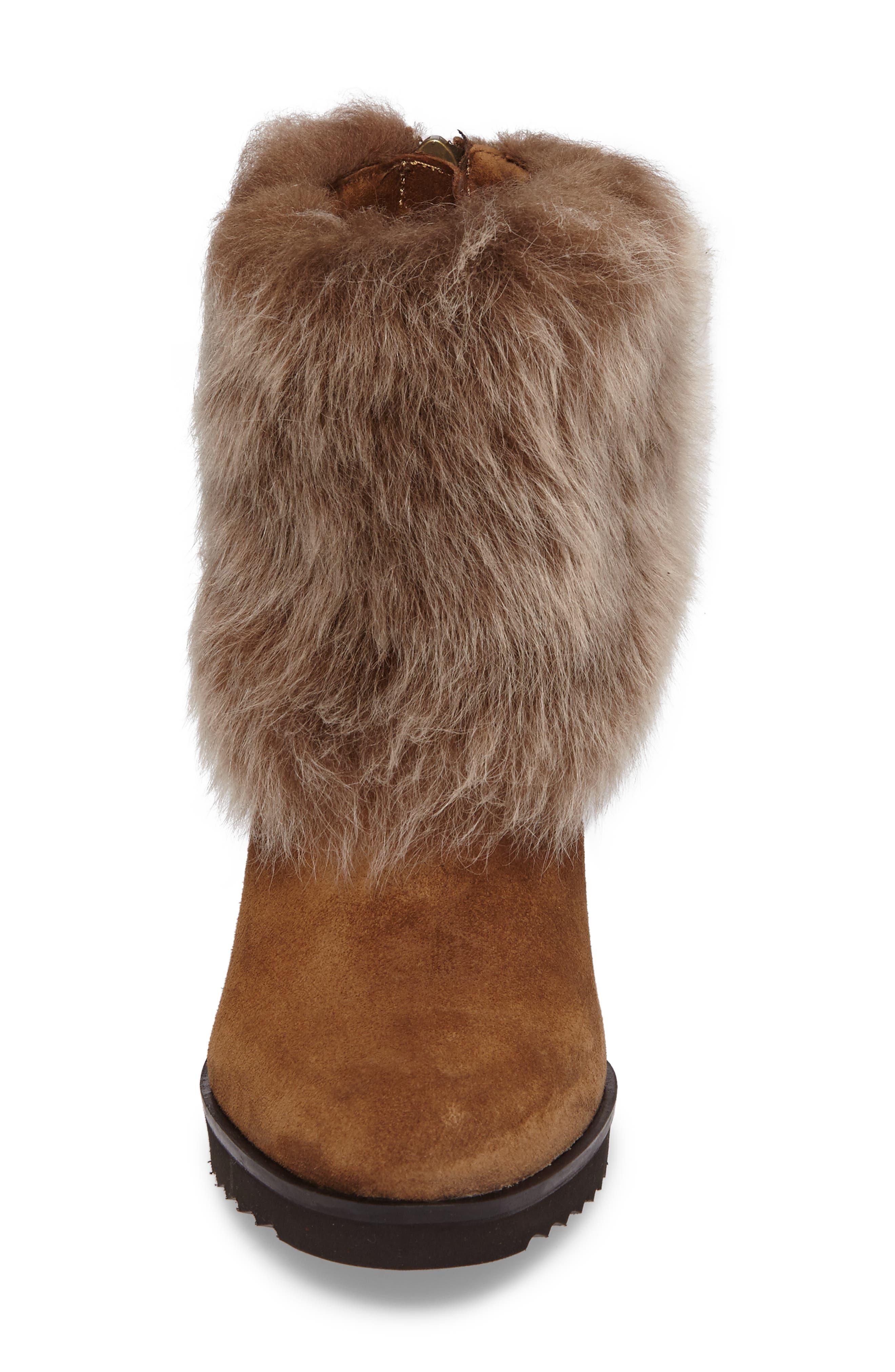 Roslyn Block Heel Genuine Shearling Bootie,                             Alternate thumbnail 8, color,