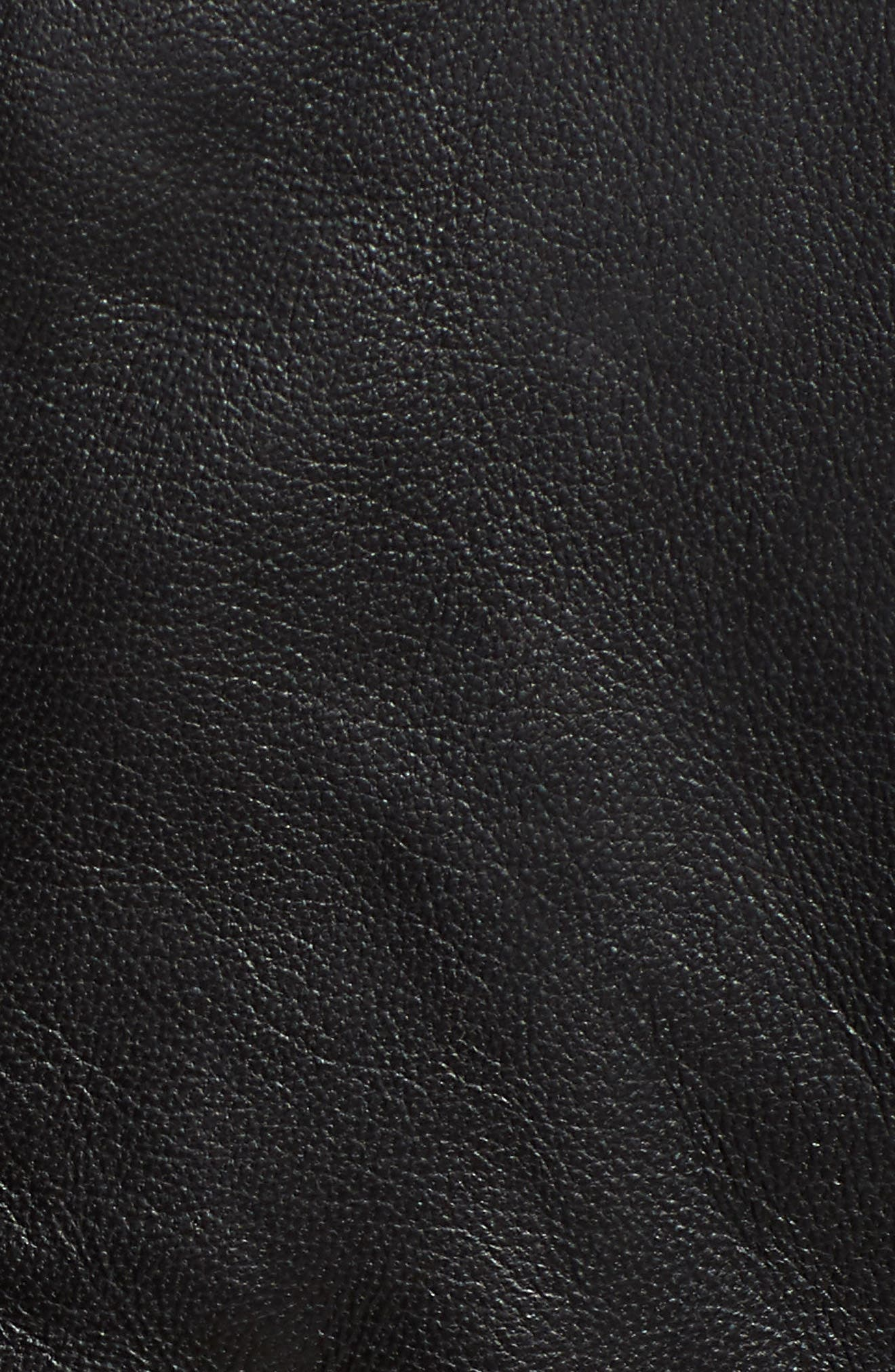 Zip Racer Leather Jacket,                             Alternate thumbnail 7, color,                             BLACK