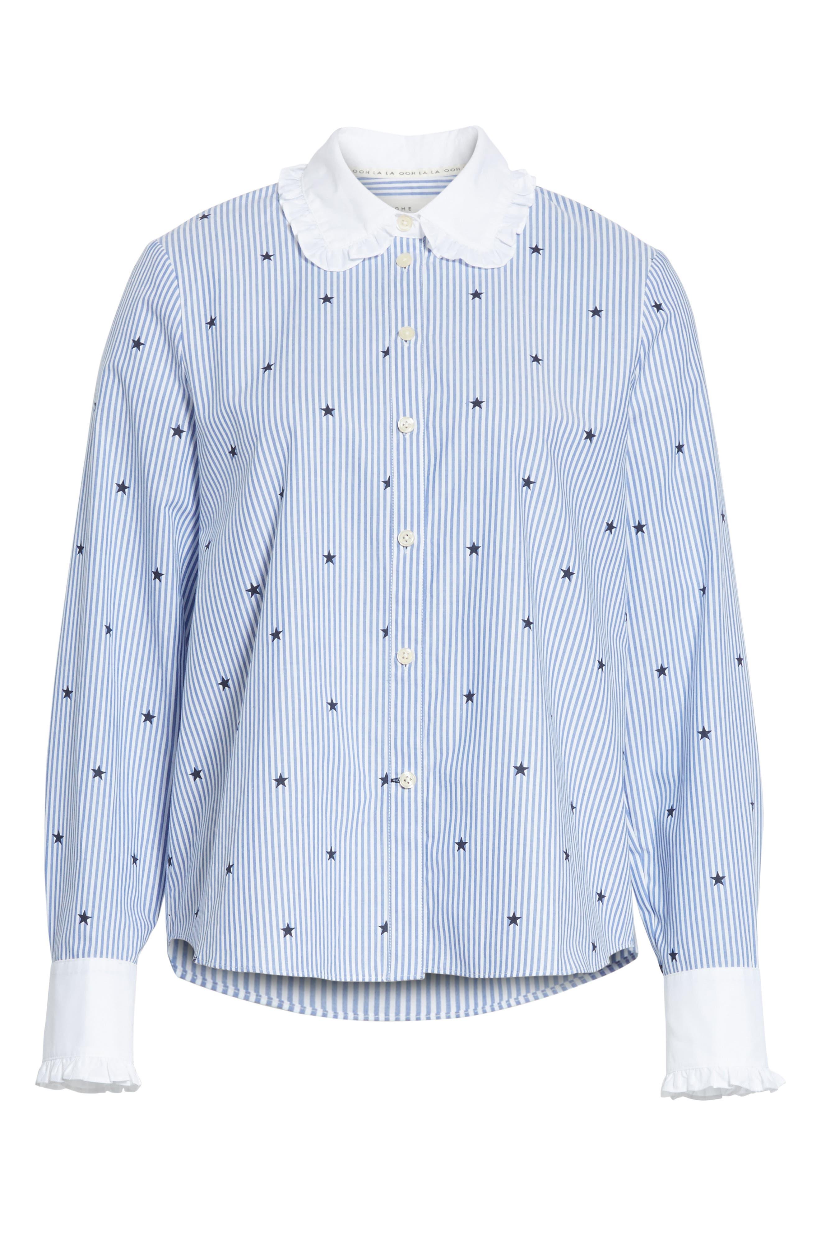 twinkle stripe poplin shirt,                             Alternate thumbnail 6, color,                             491