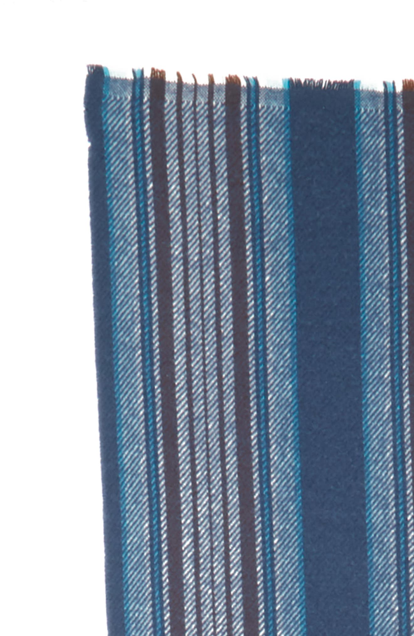 Check Wool Scarf,                             Alternate thumbnail 3, color,                             OATMEAL BEIGE / BLUE CHECK