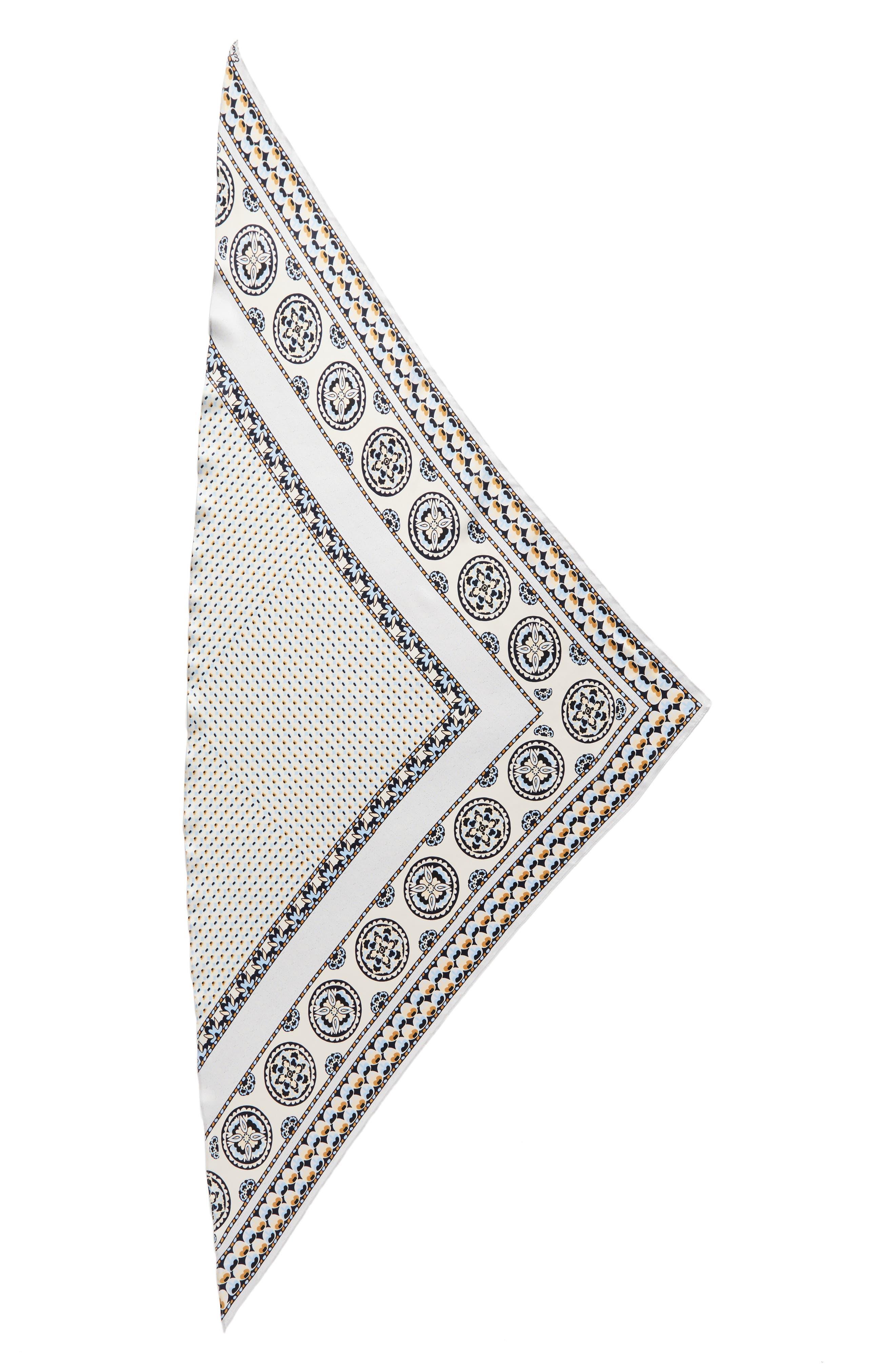Medallion Triangle Silk Scarf,                             Alternate thumbnail 2, color,                             020