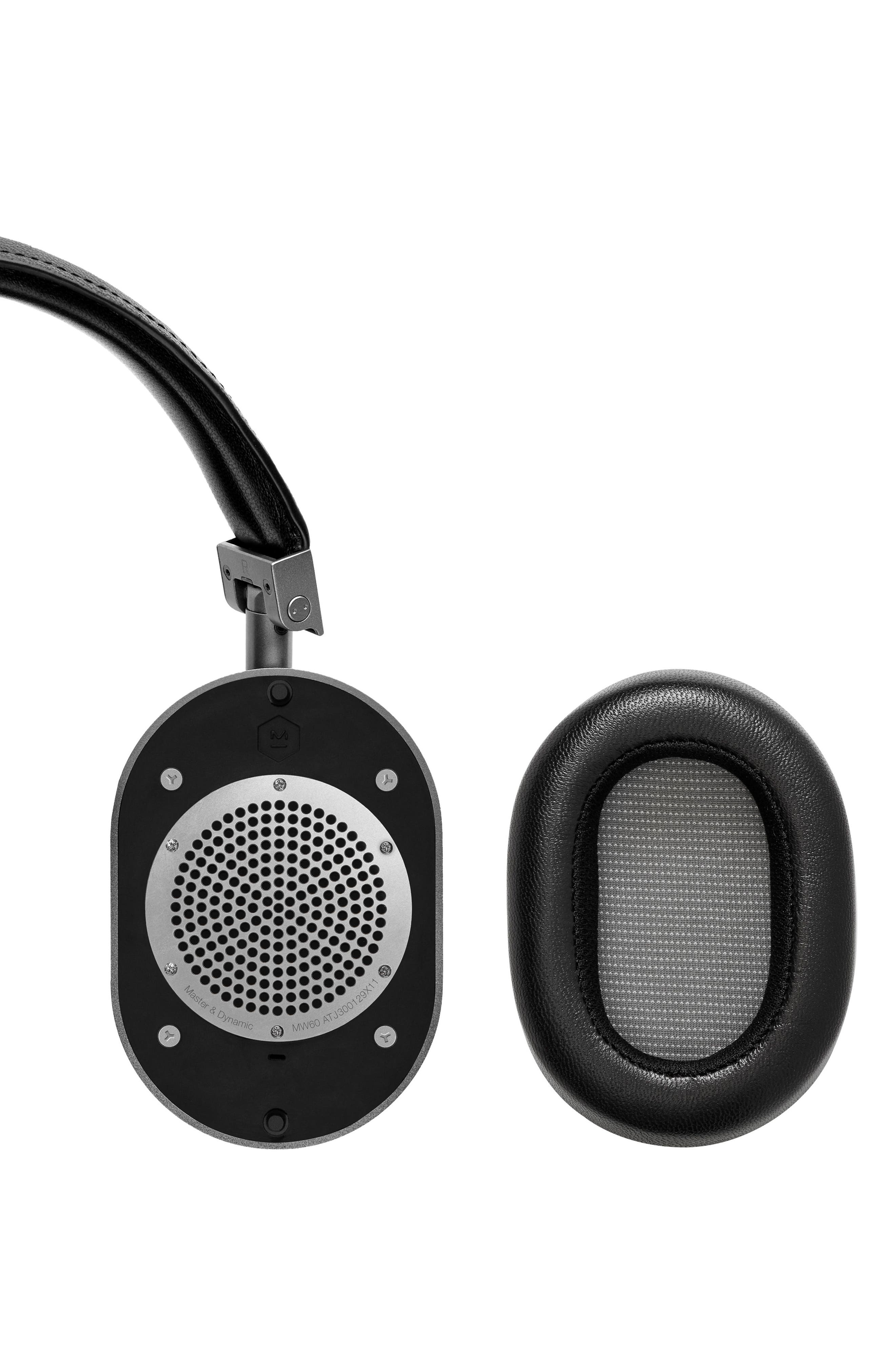 MW60 Wireless Leather Over Ear Headphones,                             Alternate thumbnail 3, color,                             BLACK/ GUNMETAL
