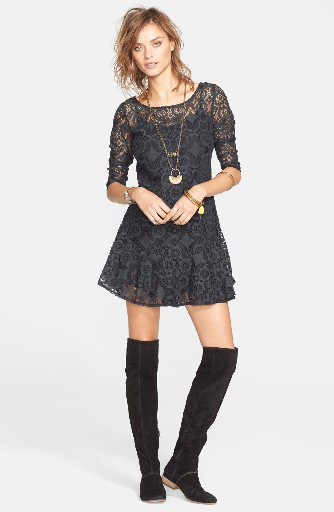 'Walking to the Sun' Fit & Flare Dress,                         Main,                         color, 001
