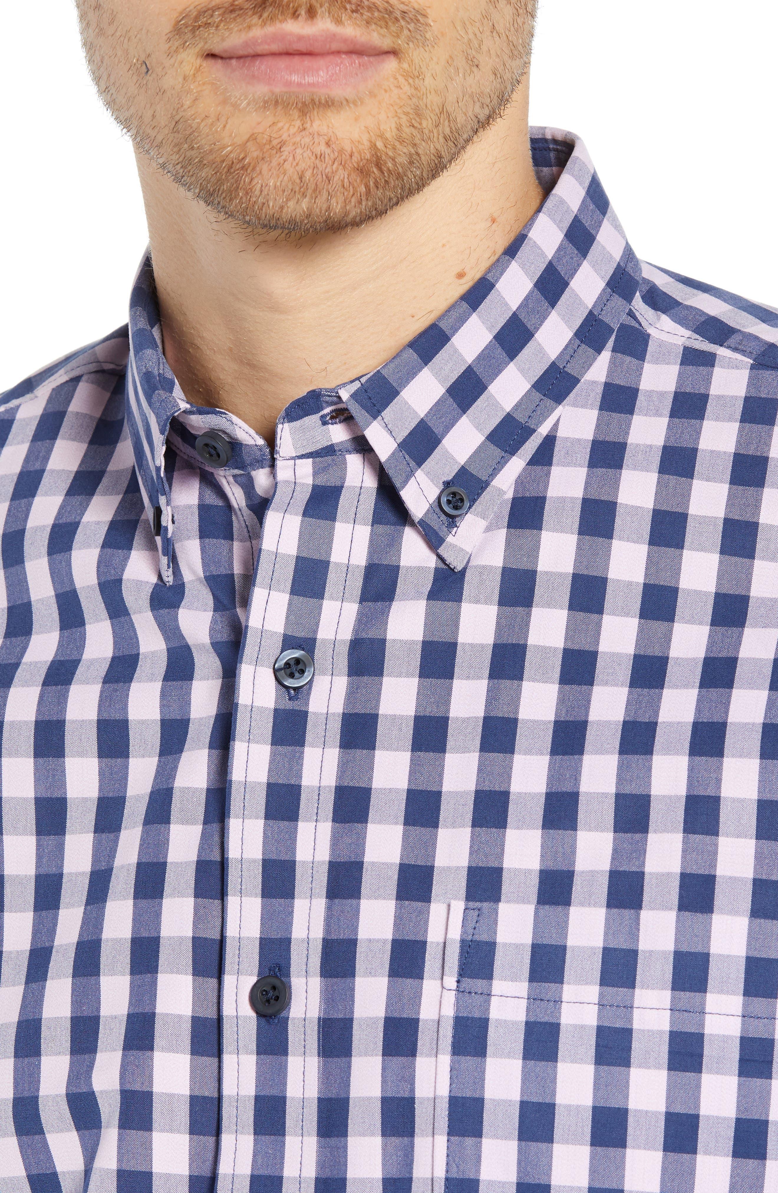Slim Fit Gingham Sport Shirt,                             Alternate thumbnail 2, color,                             NAVY IRIS PINK CAMEO GINGHAM