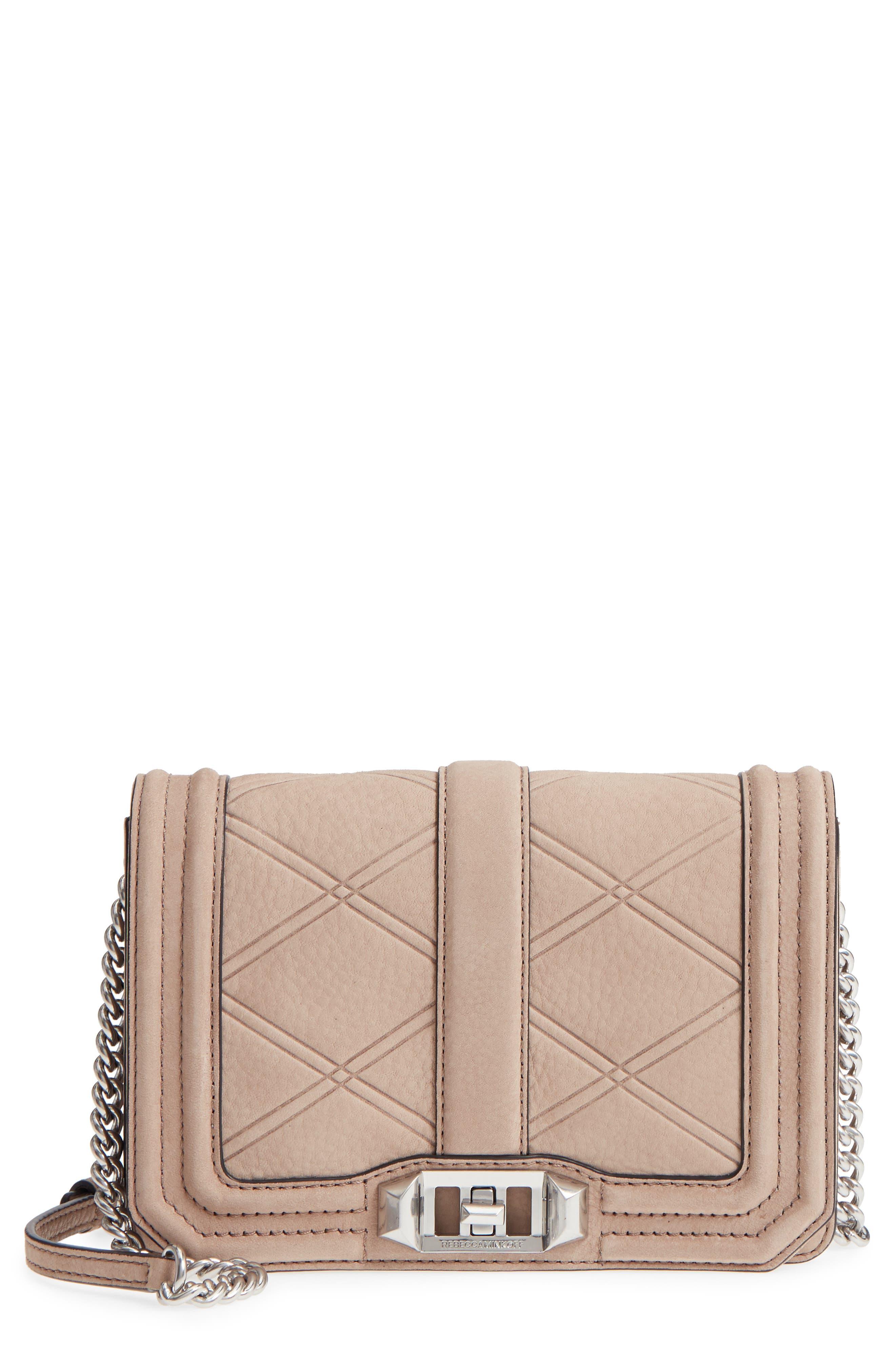 Small Love Nubuck Leather Crossbody Bag,                             Main thumbnail 2, color,