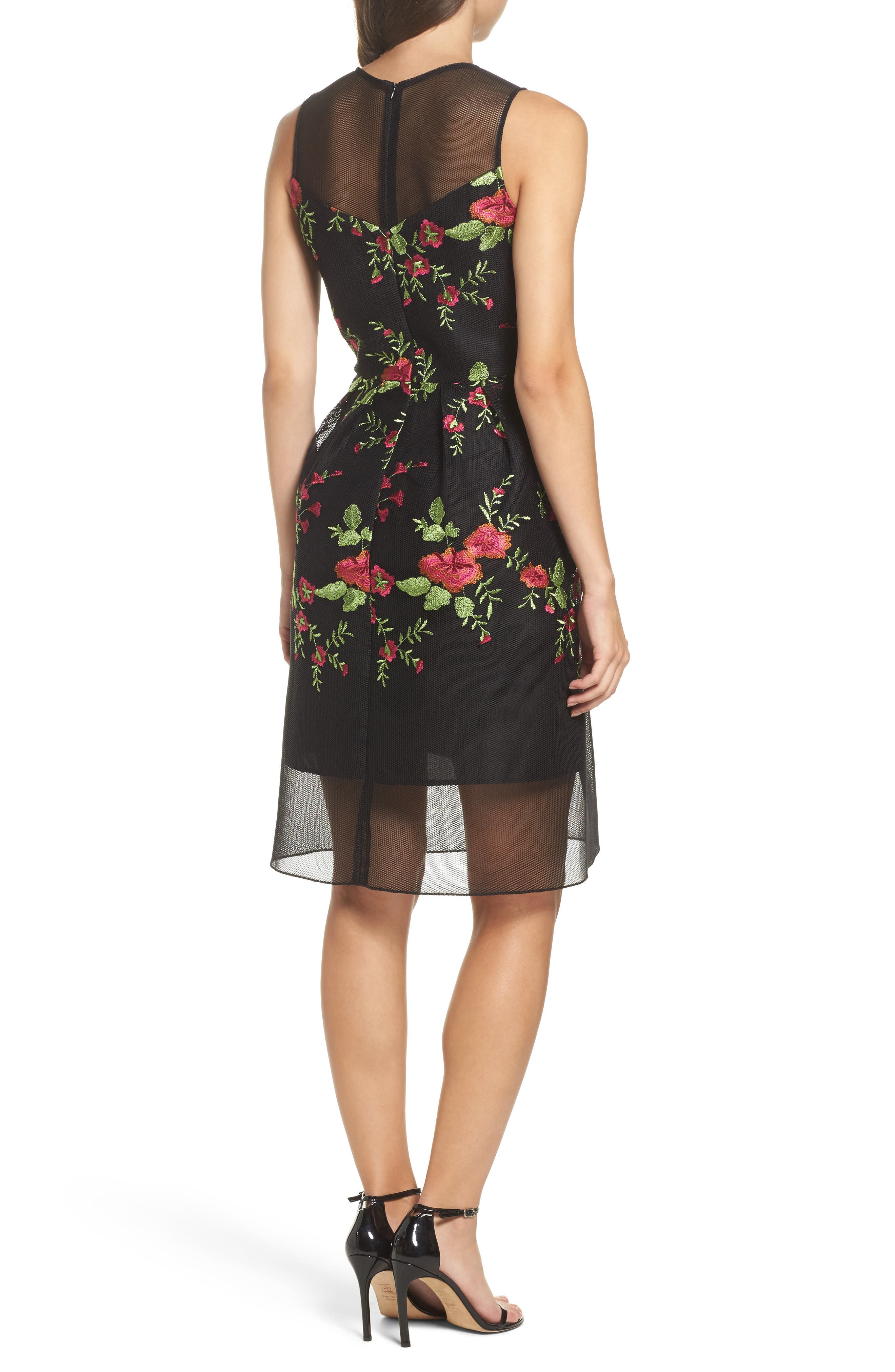 Embroidered Fit & Flare Dress,                             Alternate thumbnail 2, color,