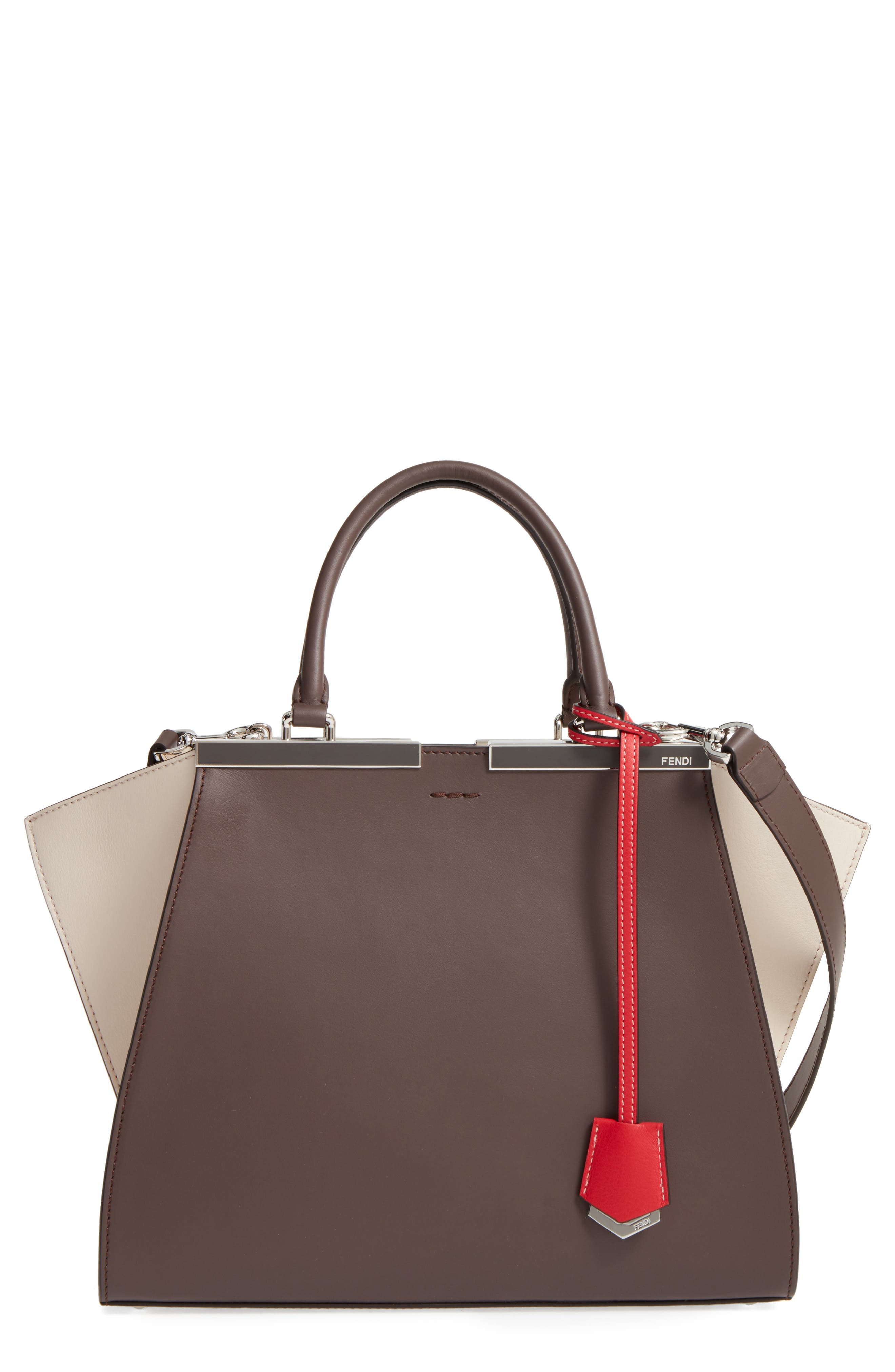 3Jours Colorblock Calfskin Leather Shopper,                         Main,                         color, CHOCOLATE/ WHITE