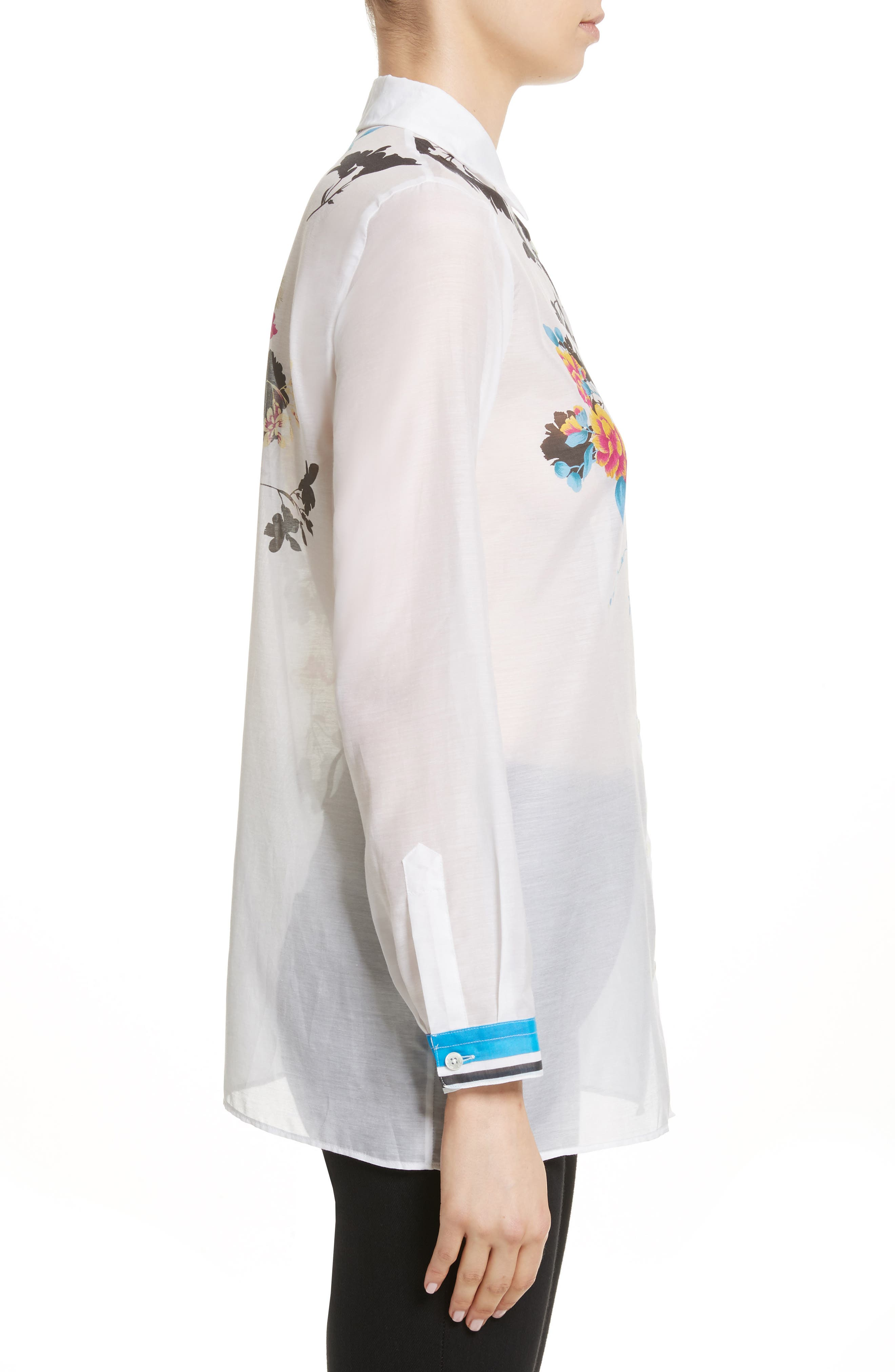 Floral Print Cotton & Silk Blouse,                             Alternate thumbnail 3, color,                             100