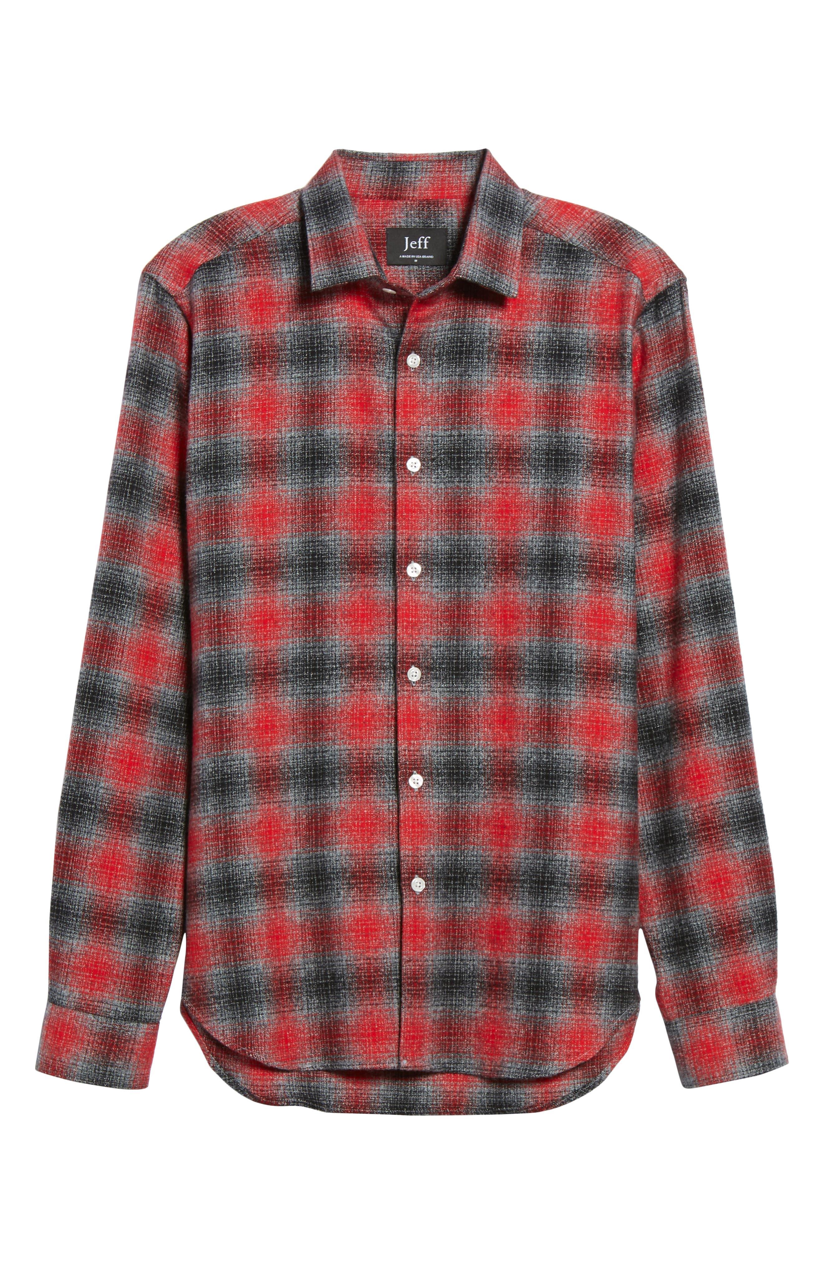Stowe Slim Fit Plaid Sport Shirt,                             Alternate thumbnail 6, color,                             021