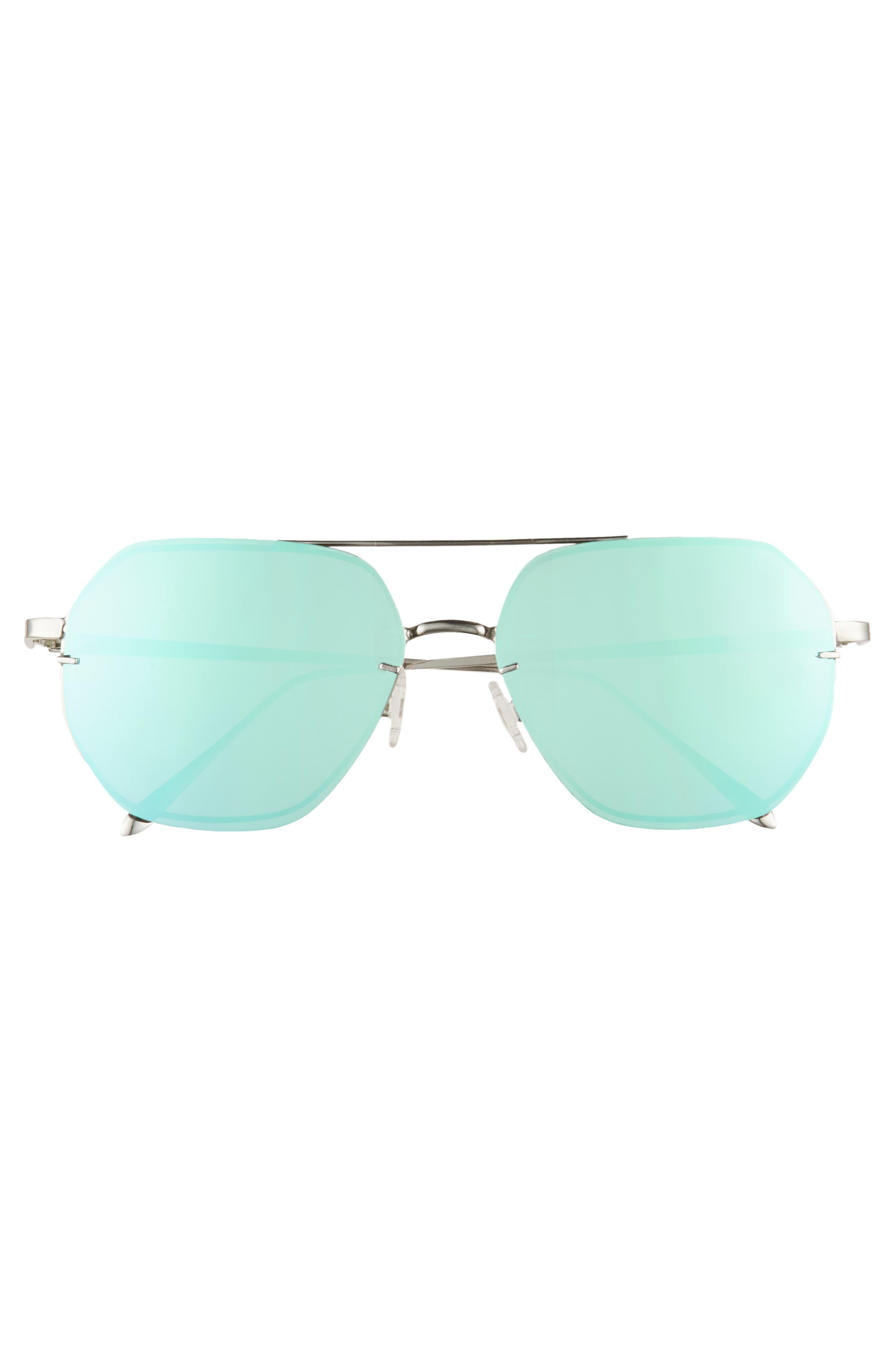 62mm Metal Flat Geo Aviator Sunglasses,                             Alternate thumbnail 3, color,                             SILVER/ PURPLE