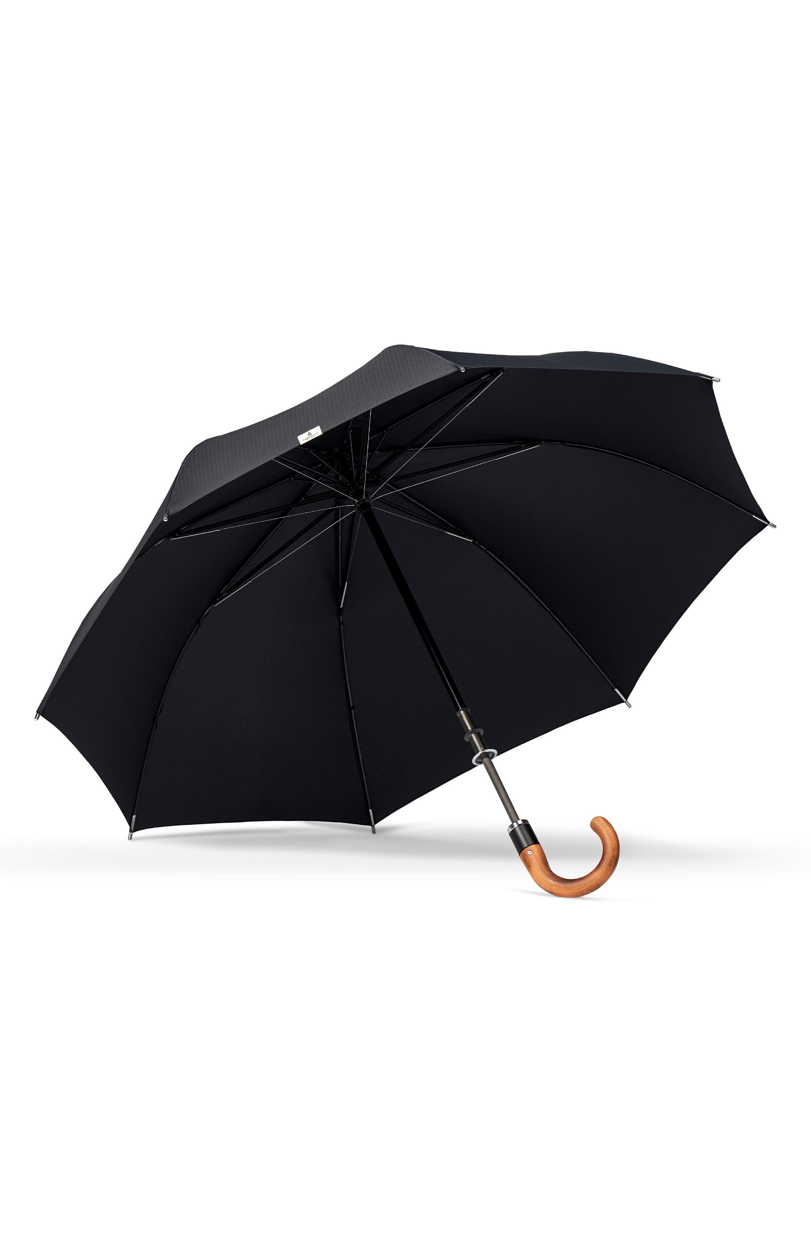 Stratus Auto Open Stick Umbrella,                             Alternate thumbnail 2, color,                             BLACK