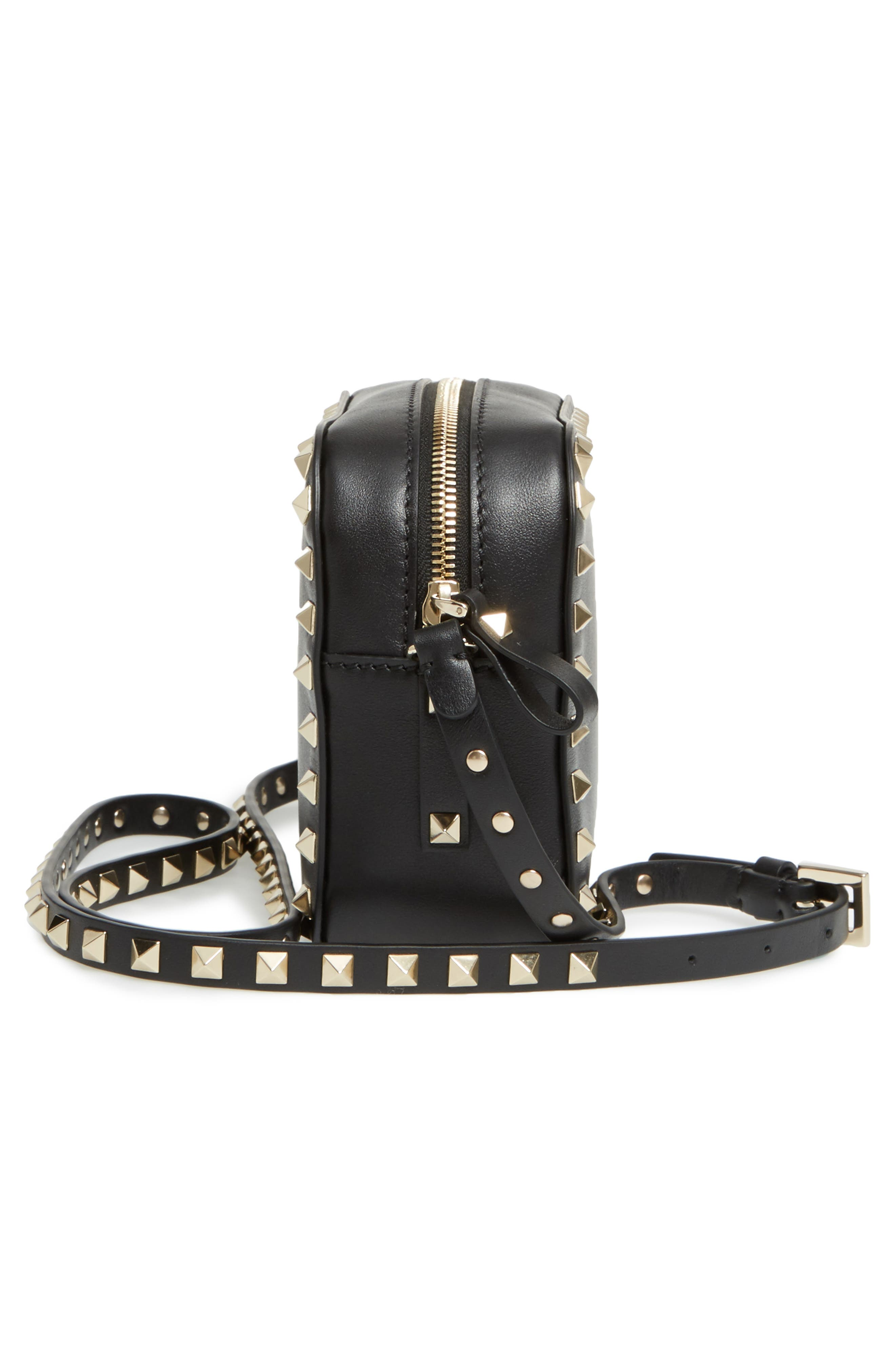 'Rockstud' Calfskin Leather Camera Crossbody Bag,                             Alternate thumbnail 4, color,                             NERO