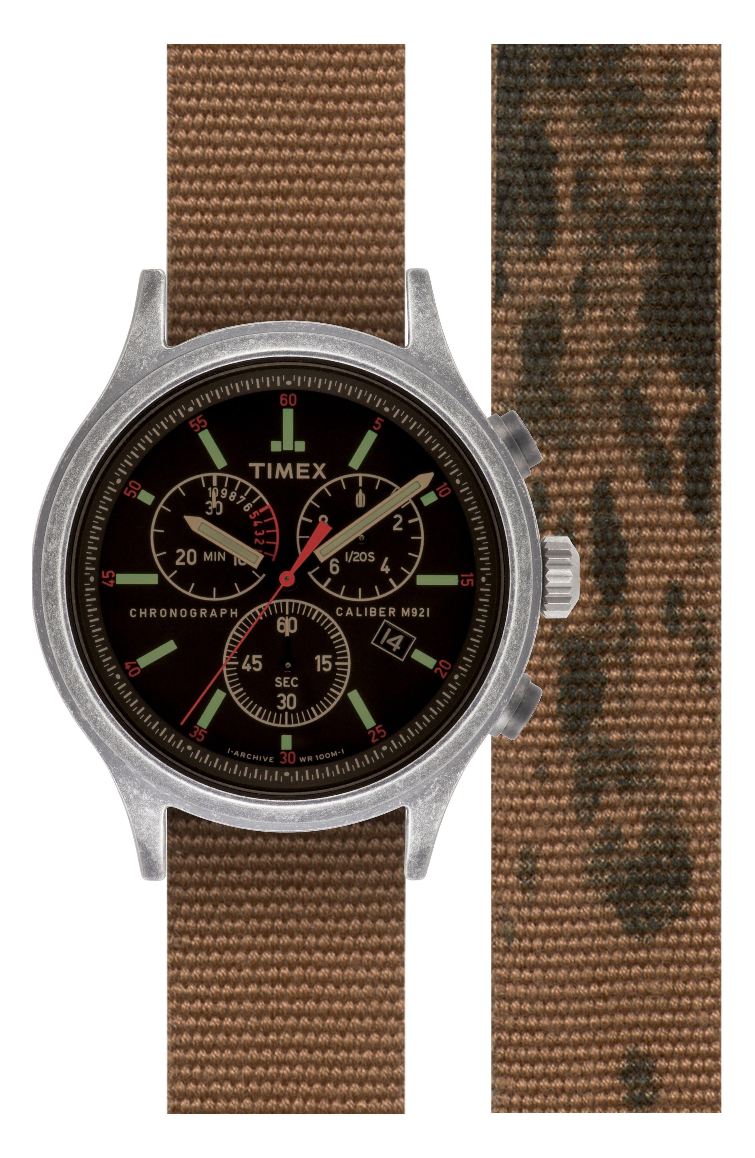 Timex<sup>®</sup> Scout Chronograph Canvas Strap Watch Set, 43mm,                         Main,                         color, 200
