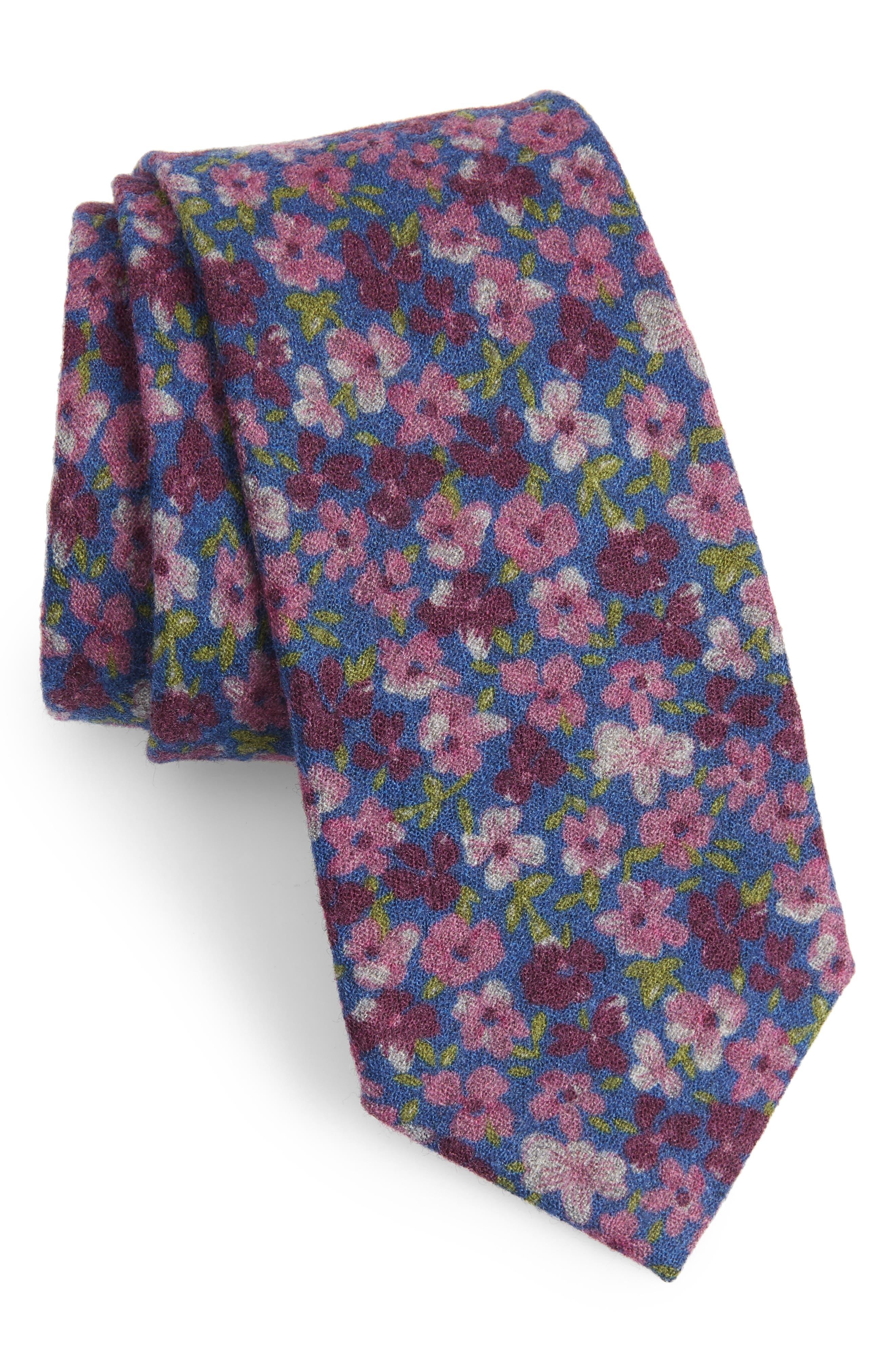 Garden Bloom Floral Wool Tie,                         Main,                         color, BLUE