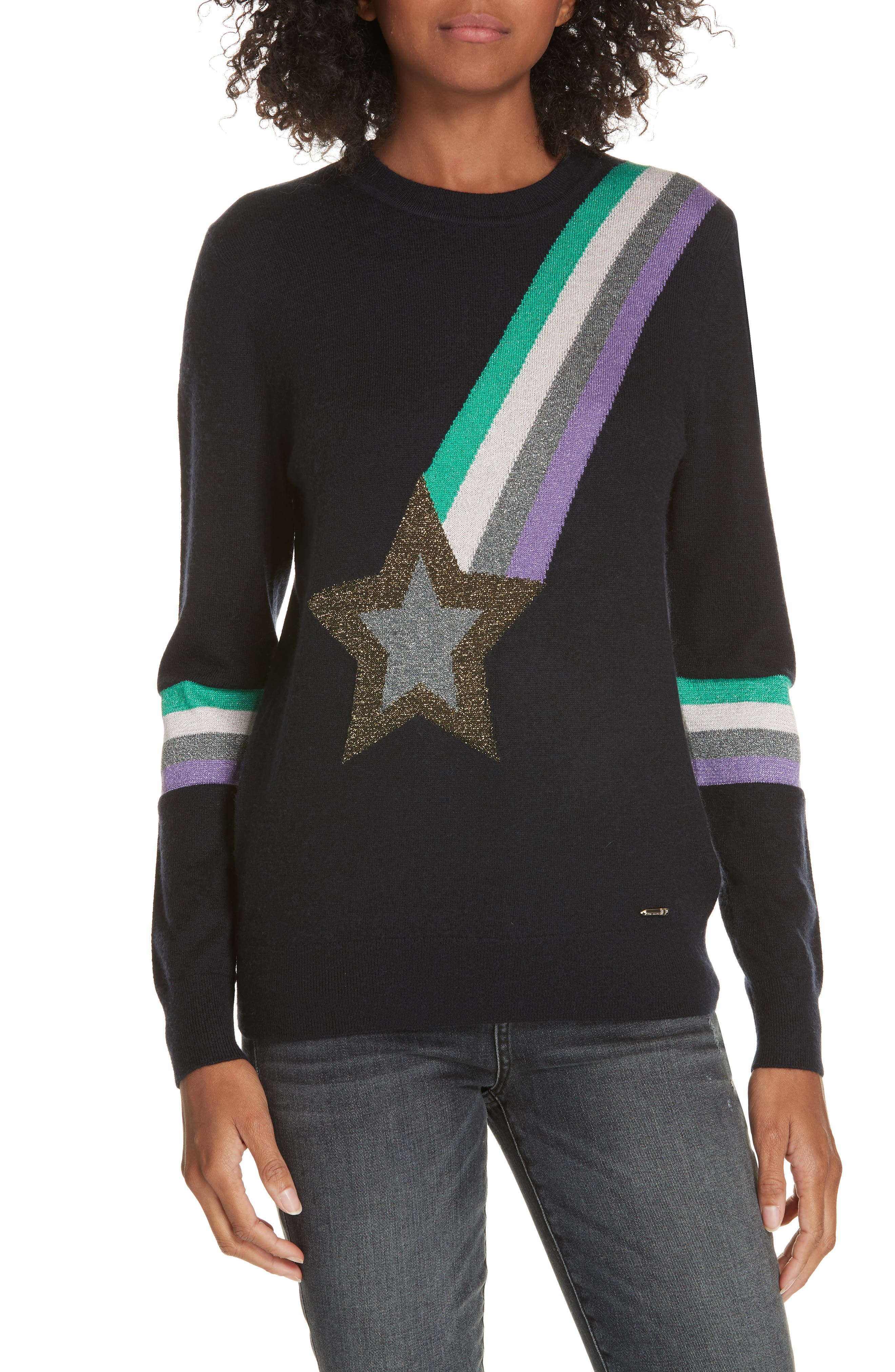 Colour by Numbers Effier Shooting Star Sweater,                             Main thumbnail 1, color,                             10-NAVY