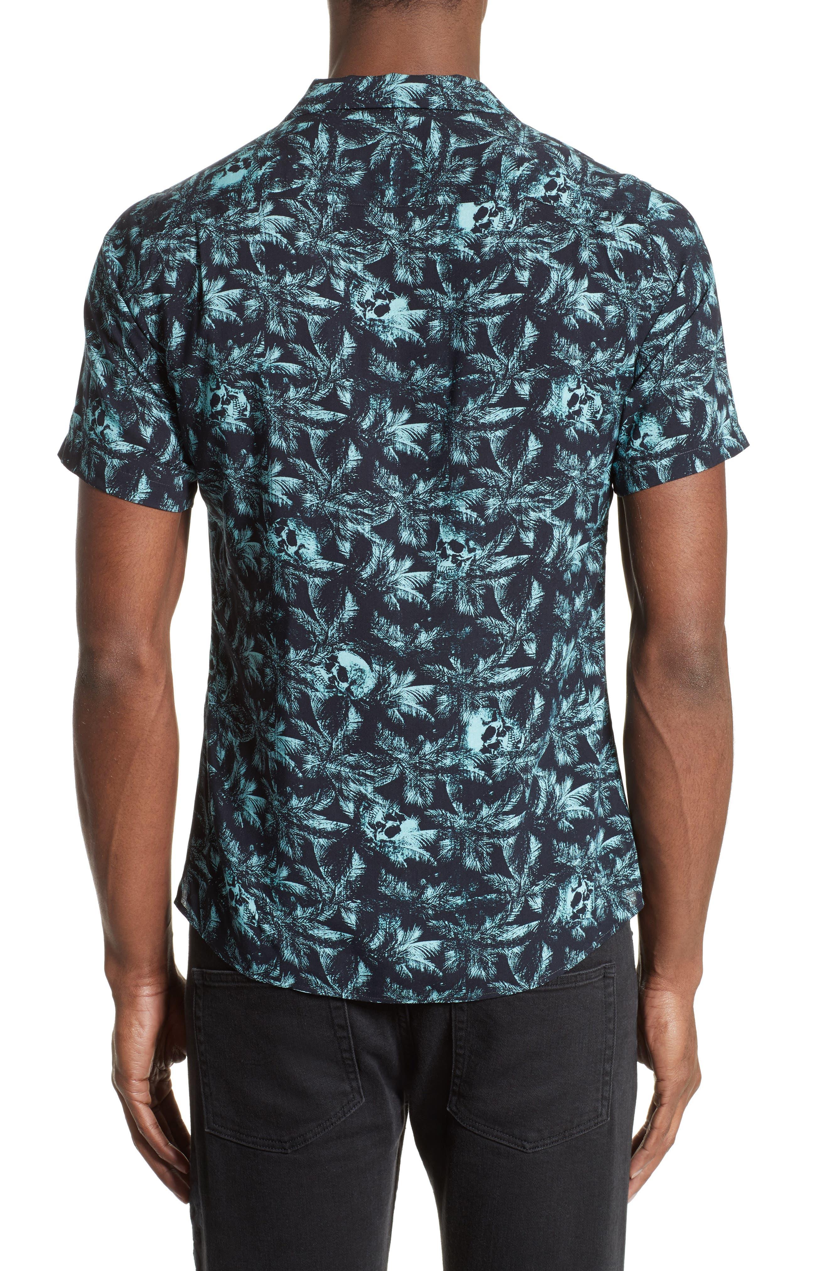 Hawaiian Collar Print Shirt,                             Alternate thumbnail 3, color,                             400