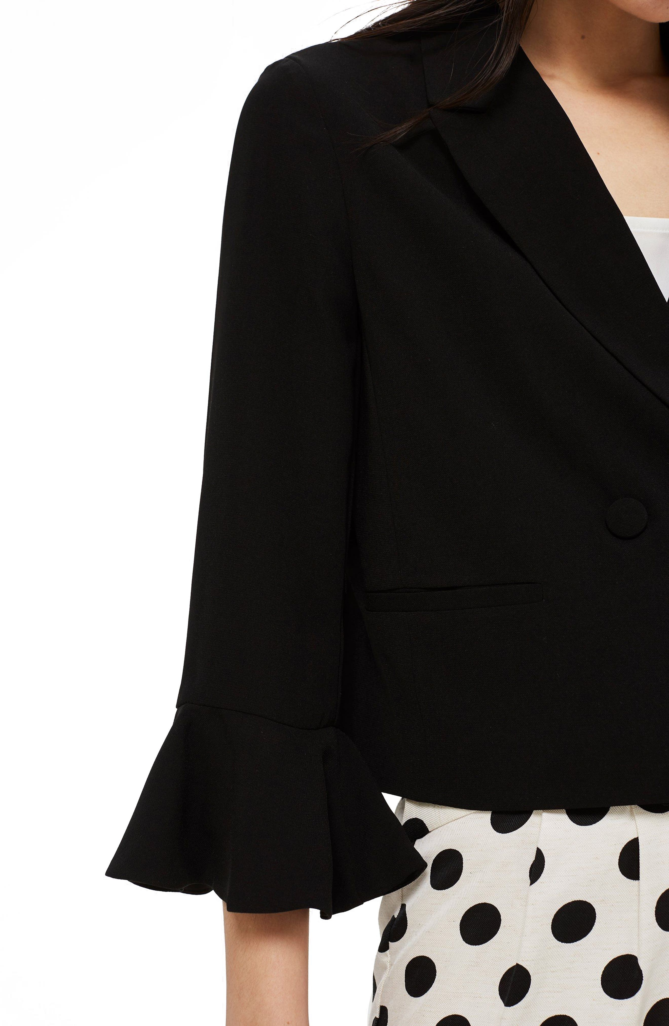 Frill Sleeve Double Breasted Jacket,                             Alternate thumbnail 4, color,                             BLACK