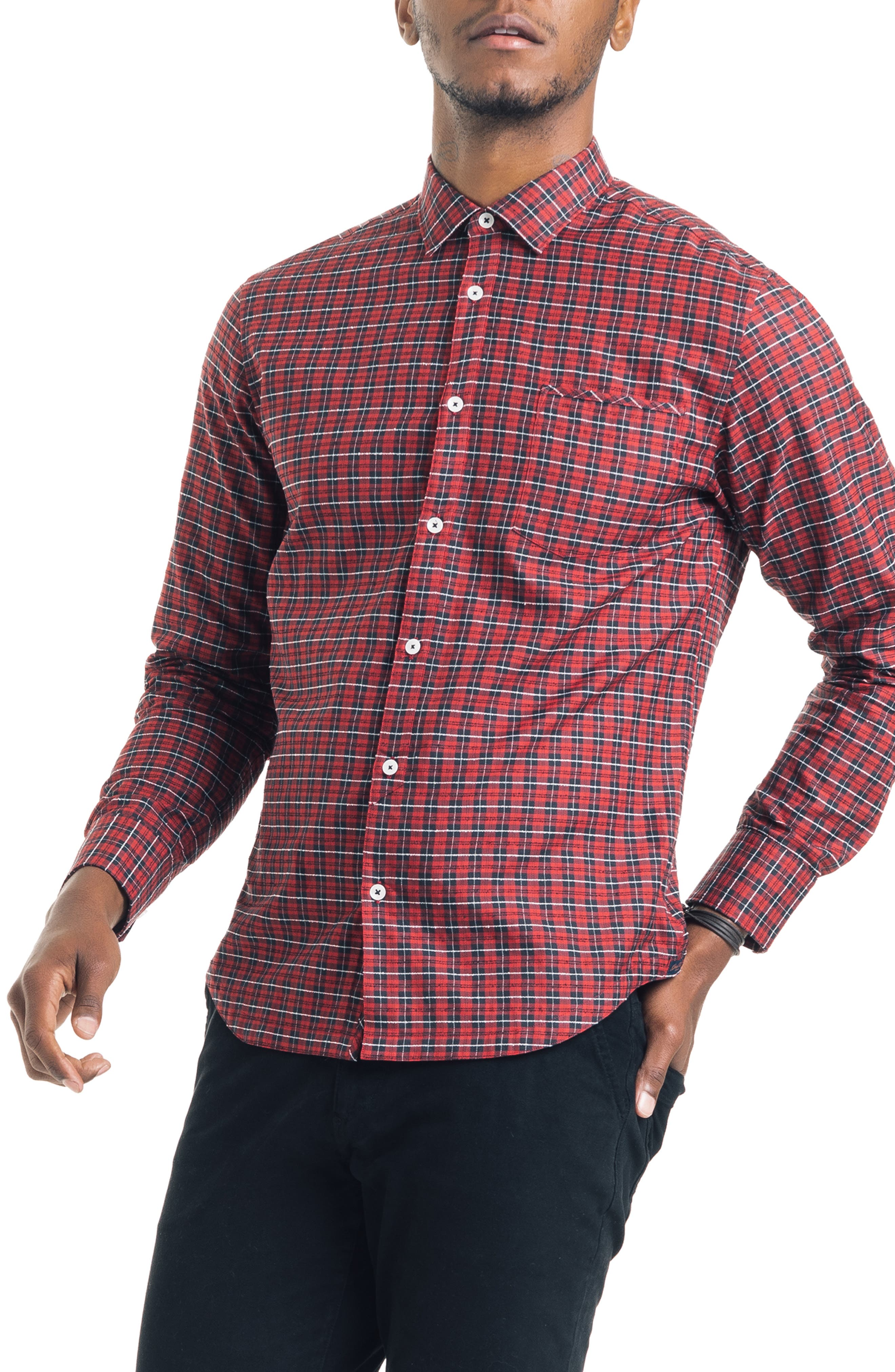 Slim Fit Tartan Plaid Sport Shirt,                             Main thumbnail 1, color,                             RED