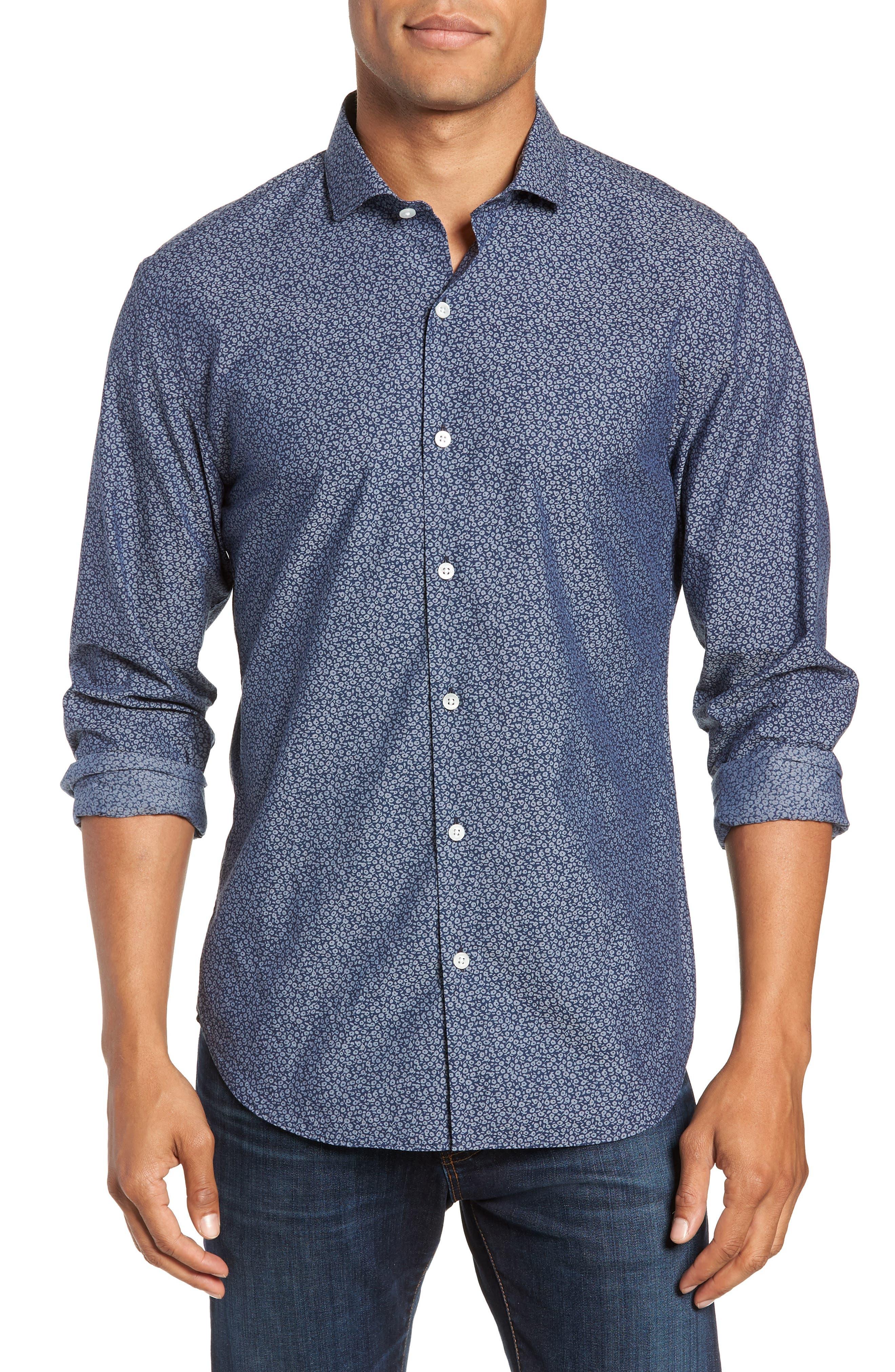 Unbutton Down Slim Fit Sport Shirt,                         Main,                         color, CIELO FLORAL - INDIO