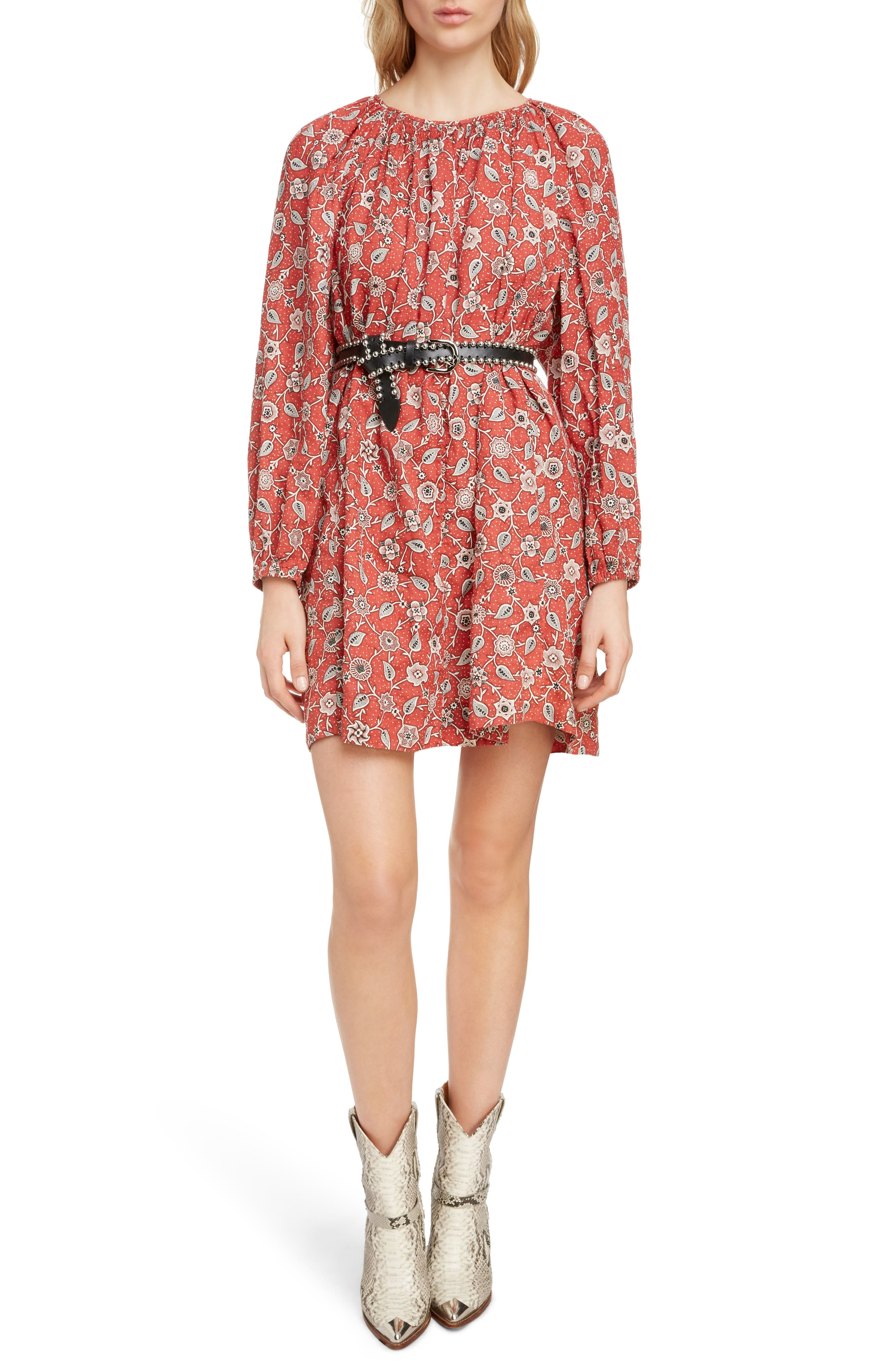 Tockya Print Linen Swing Dress, Main, color, RUST