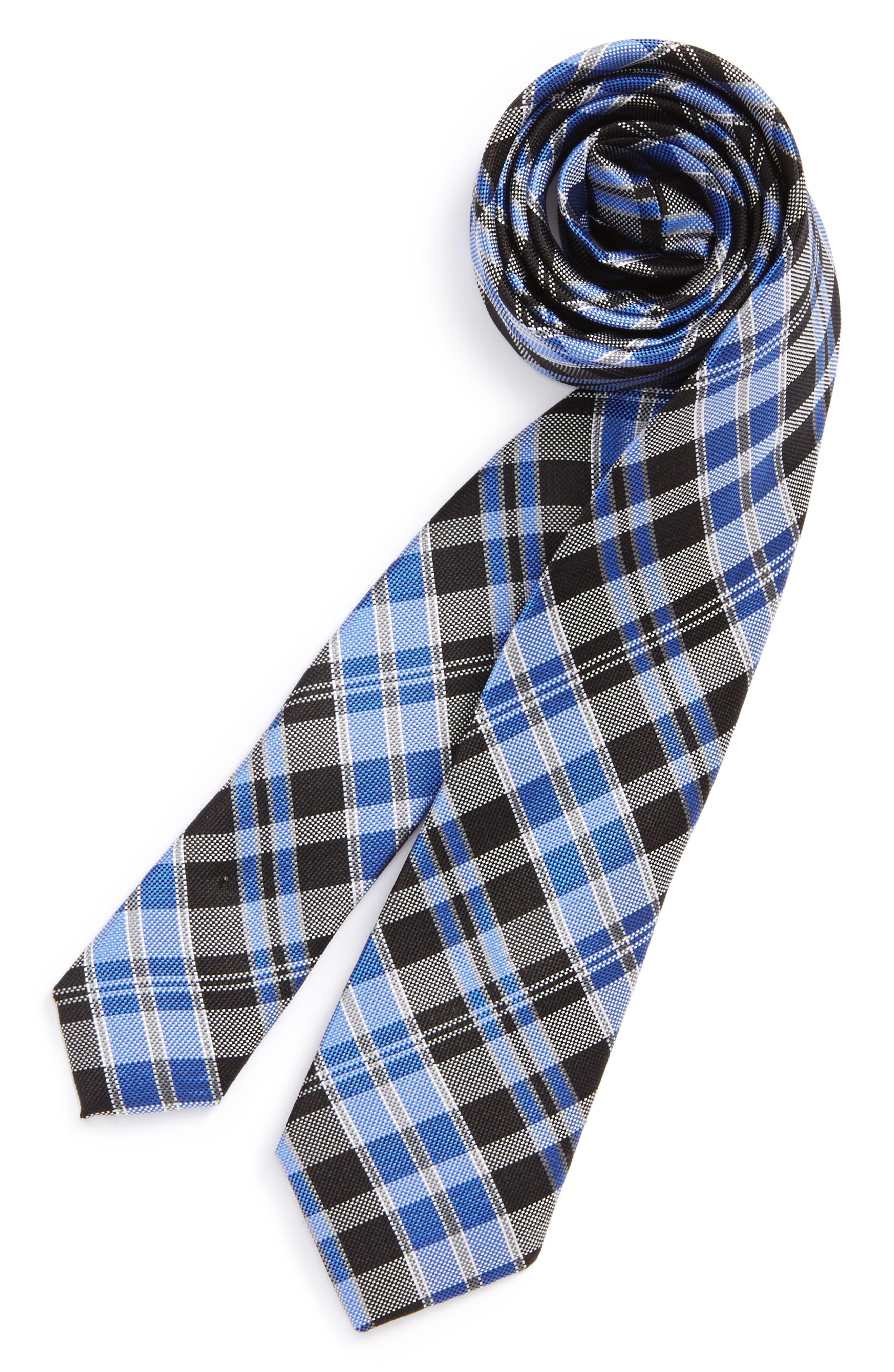 Check Silk Tie,                             Main thumbnail 1, color,                             001