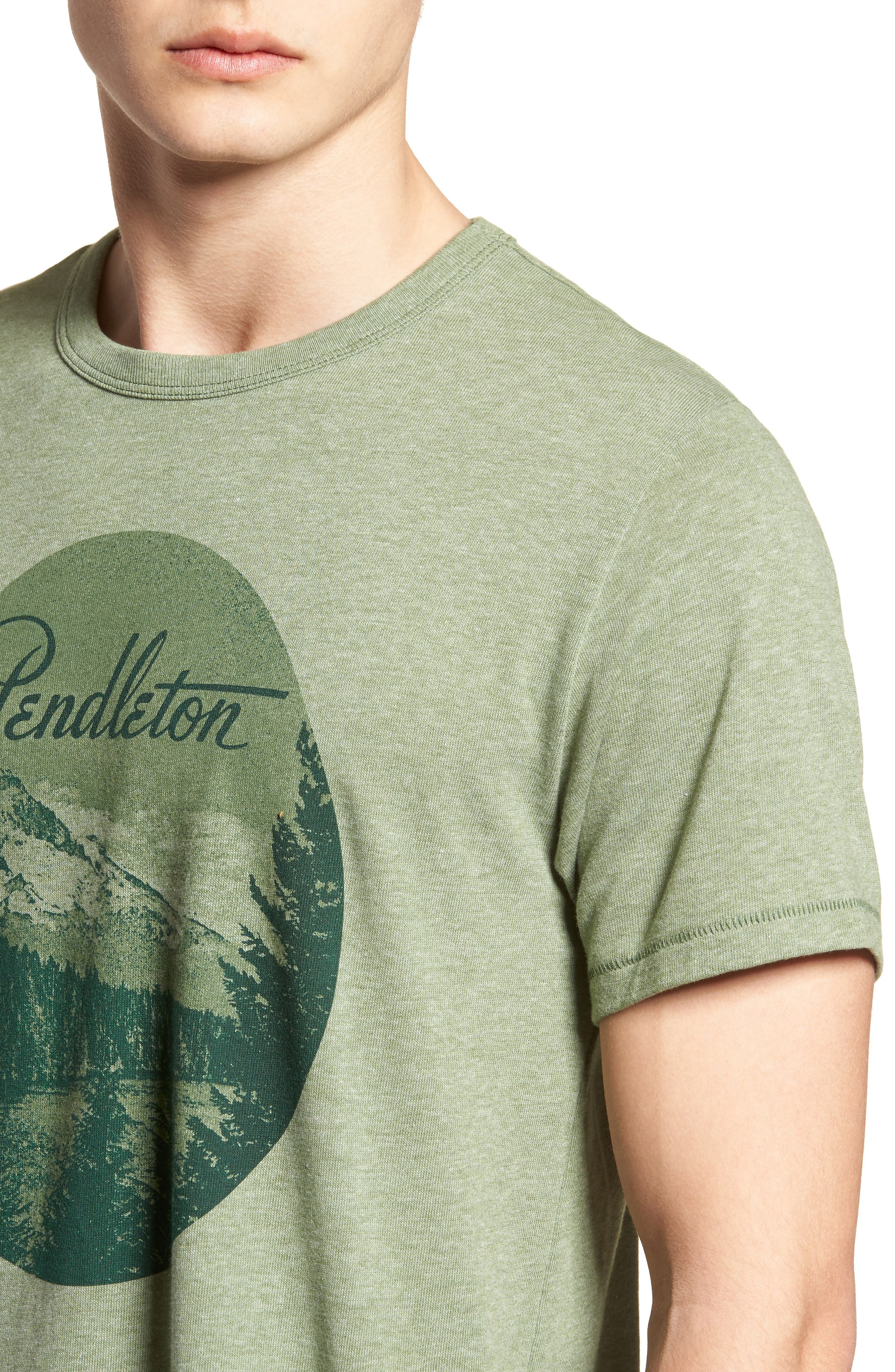Mt. Hood Crewneck T-Shirt,                             Alternate thumbnail 4, color,                             FOREST GREEN