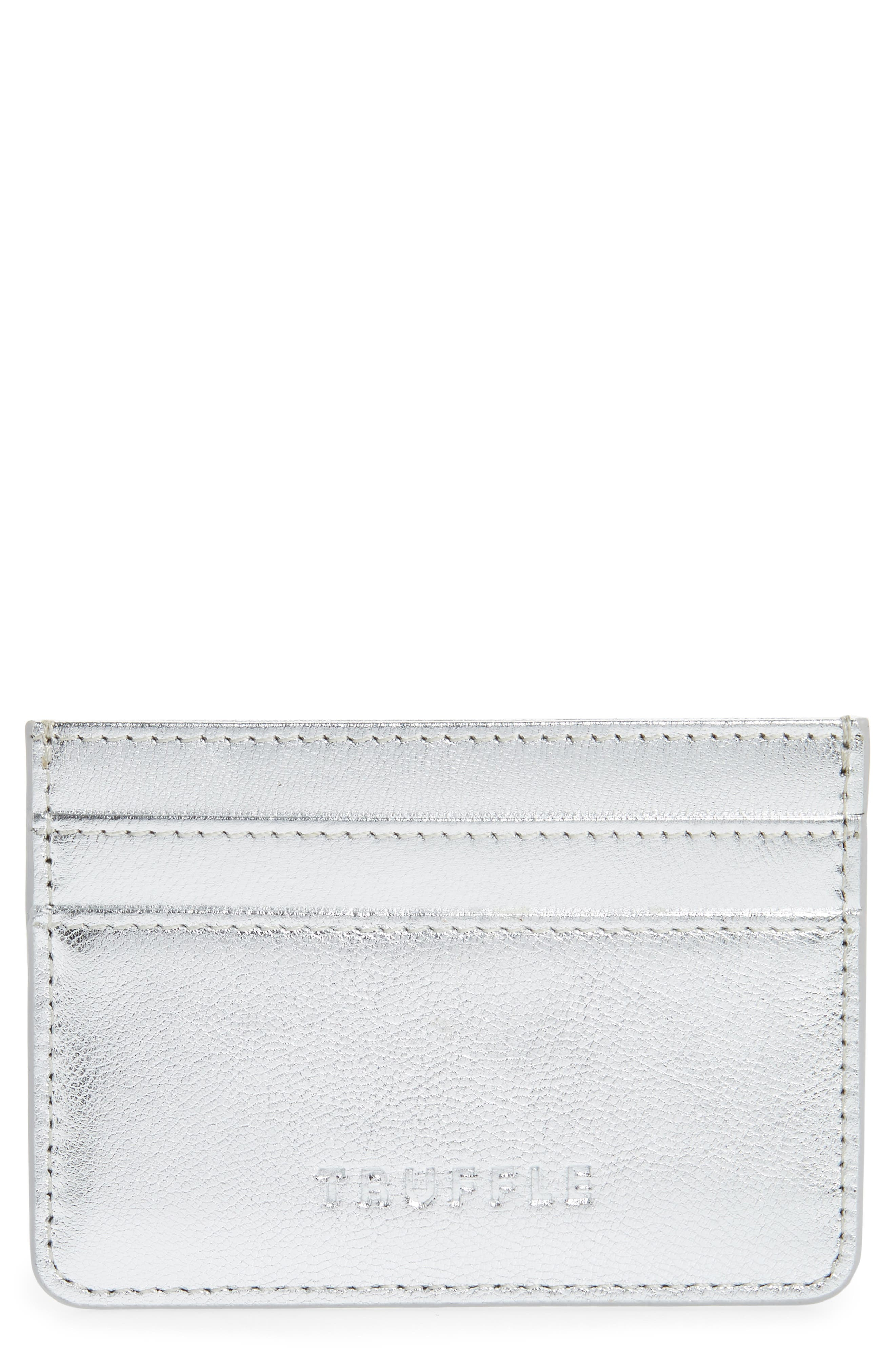Privacy Leather Card Case,                         Main,                         color, SILVER