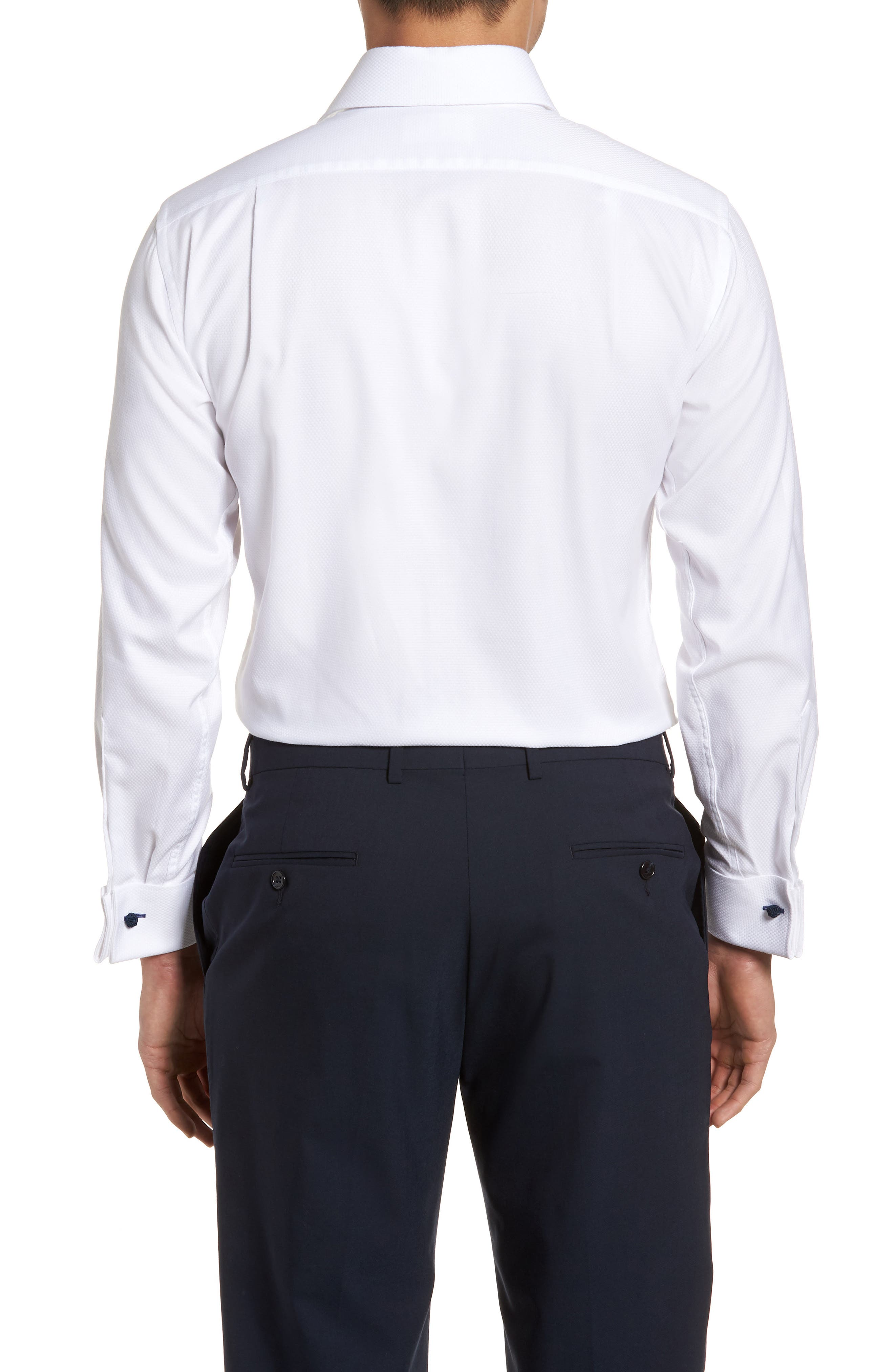 Trim Fit Basket Weave Dress Shirt,                             Alternate thumbnail 3, color,                             WHITE