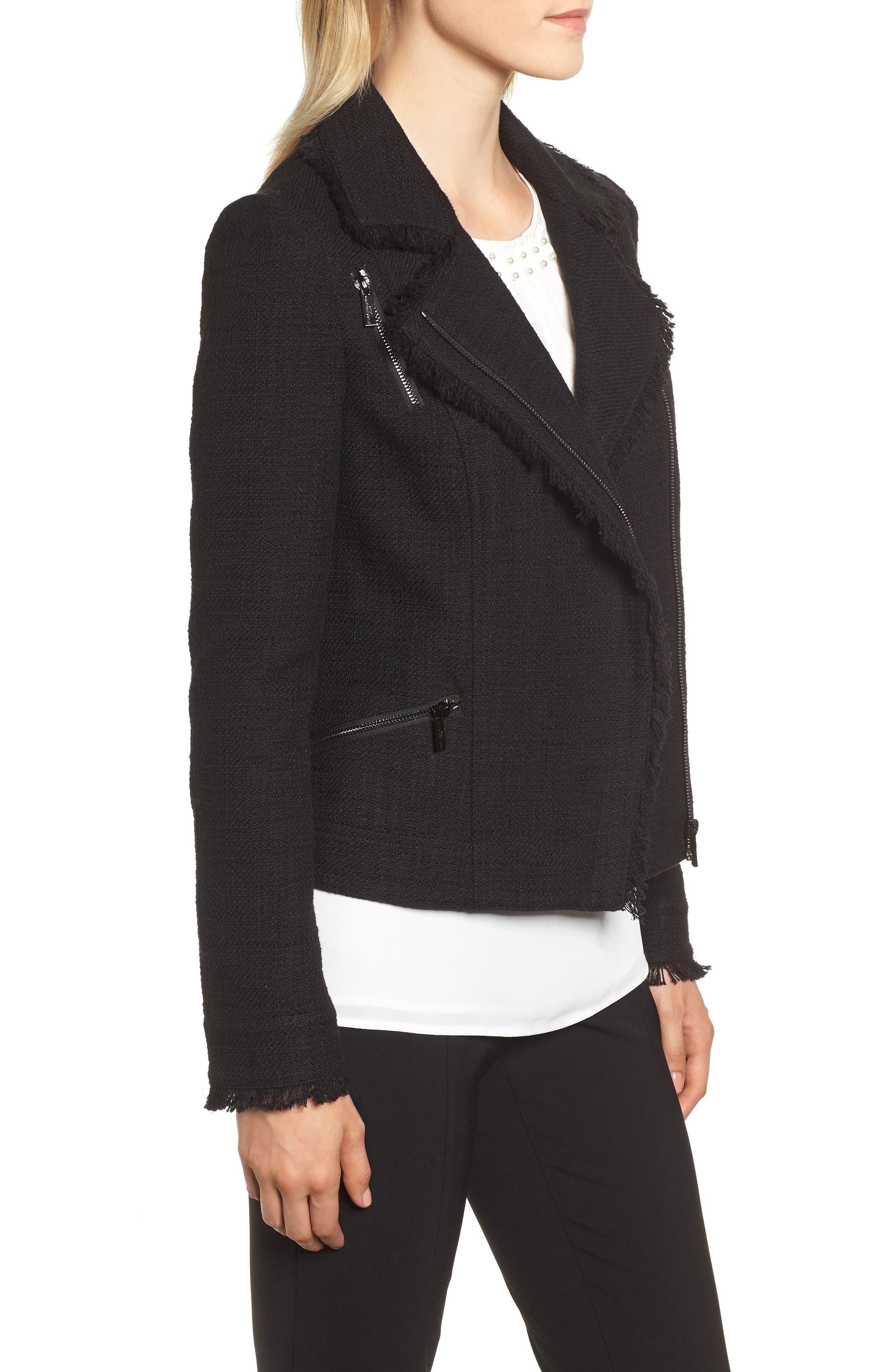 KARL LAGERFELD PARIS,                             Tweed Moto Jacket,                             Alternate thumbnail 4, color,                             001