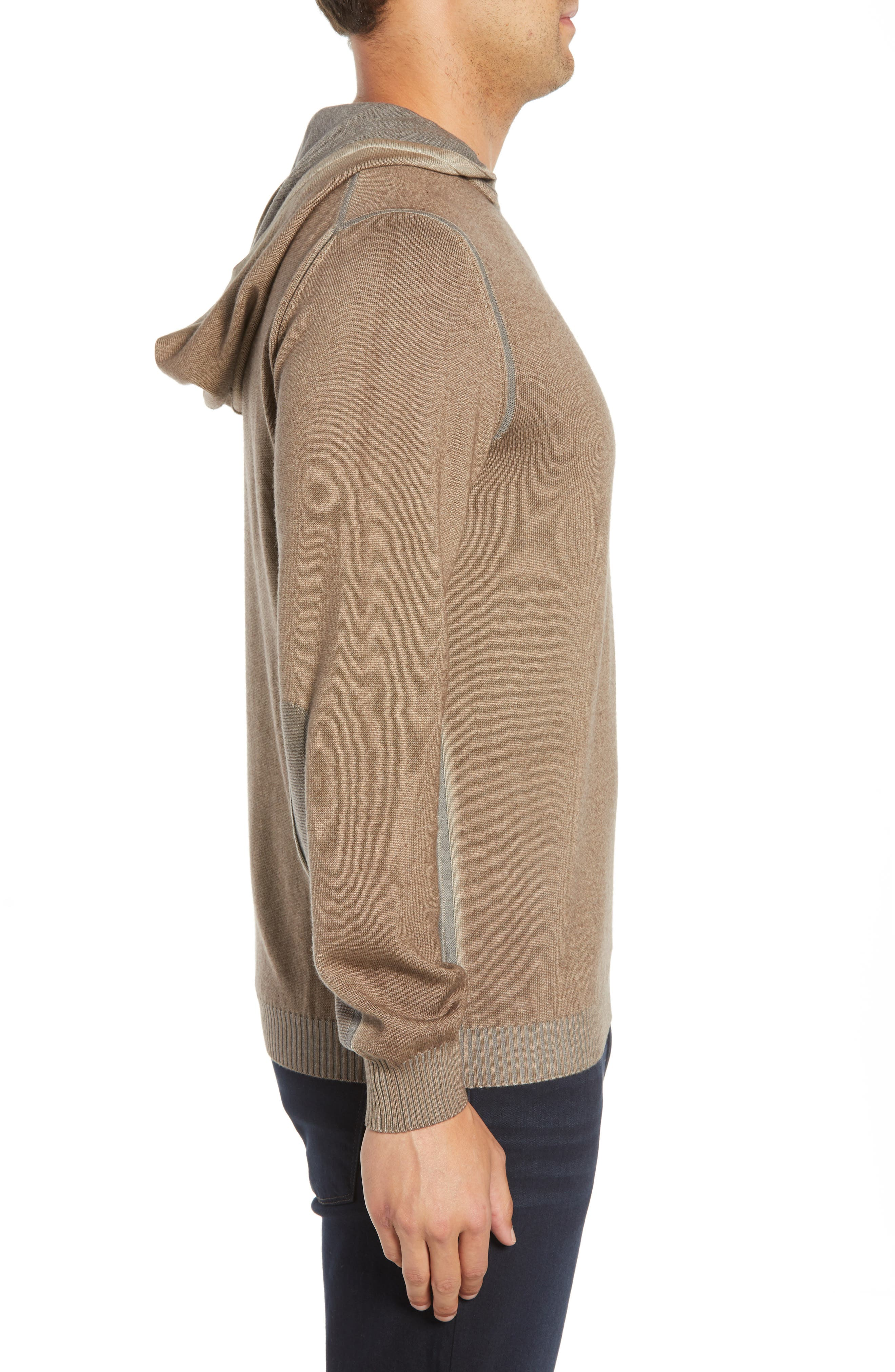 BUGATCHI,                             Hooded Pullover,                             Alternate thumbnail 3, color,                             SAND