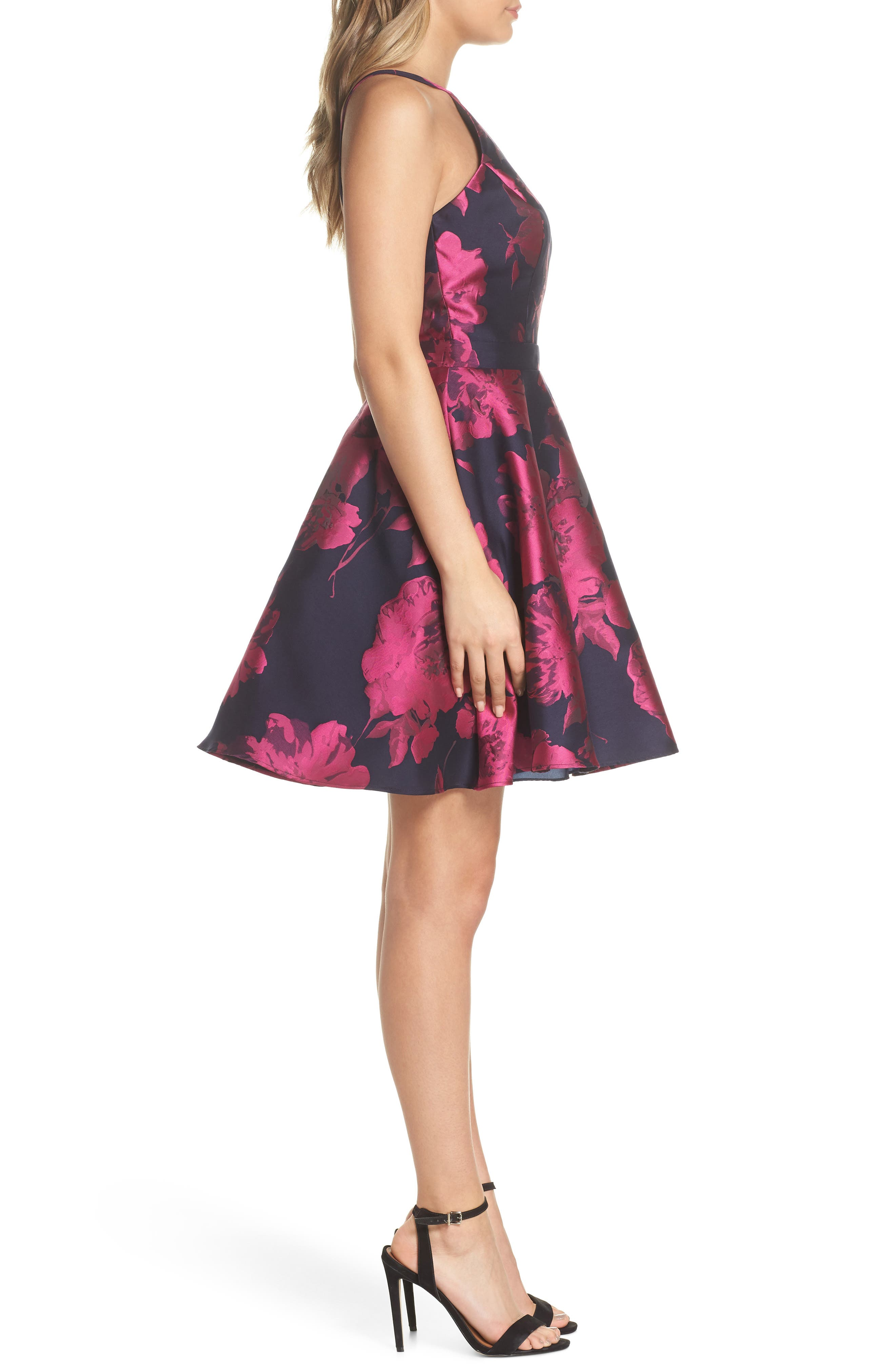 Floral Brocade Fit & Flare Dress,                             Alternate thumbnail 3, color,                             NAVY/ FUCHSIA