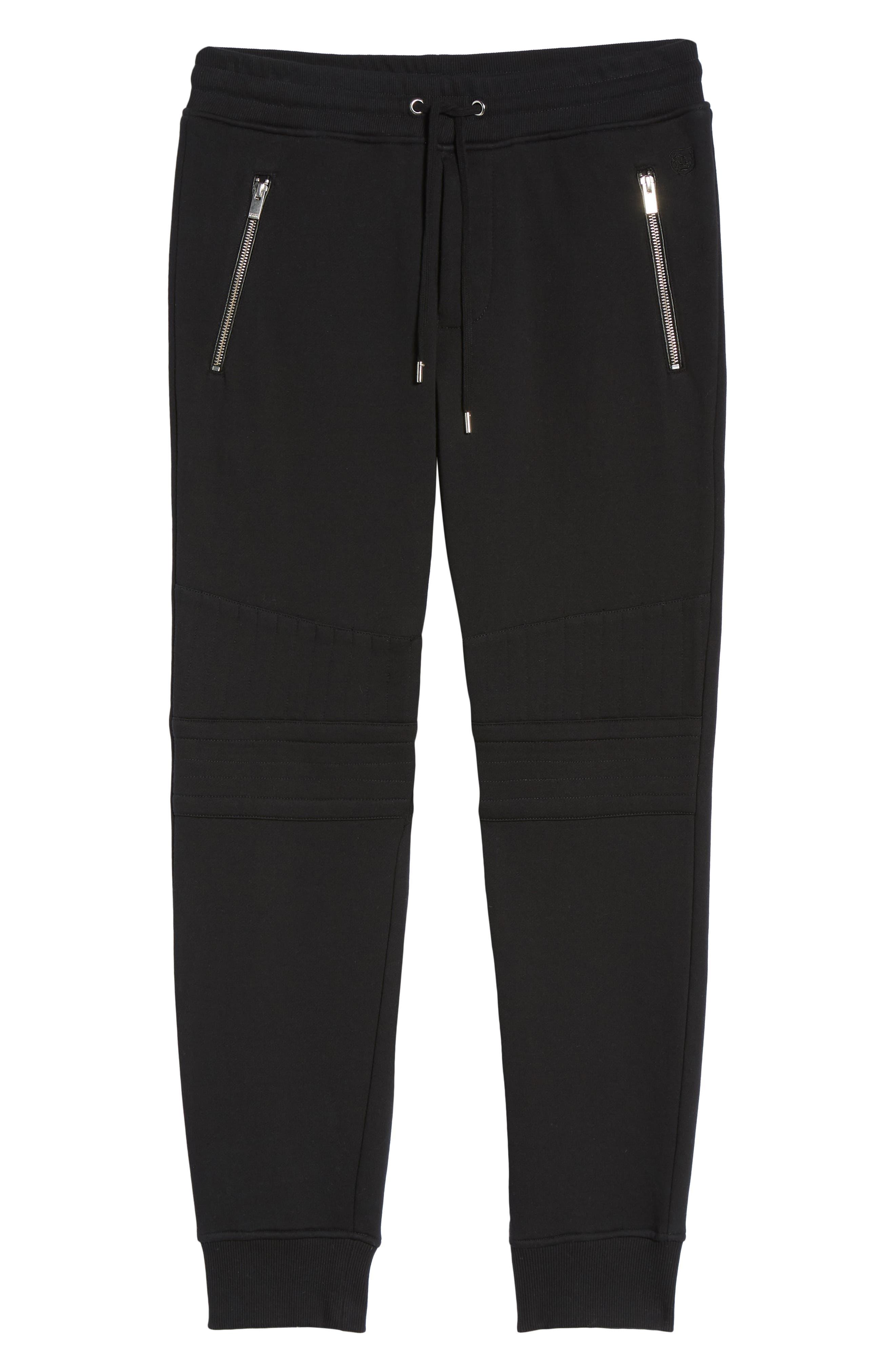 Classic Slim Fit Fleece Joggers,                             Alternate thumbnail 6, color,                             BLACK BLA01